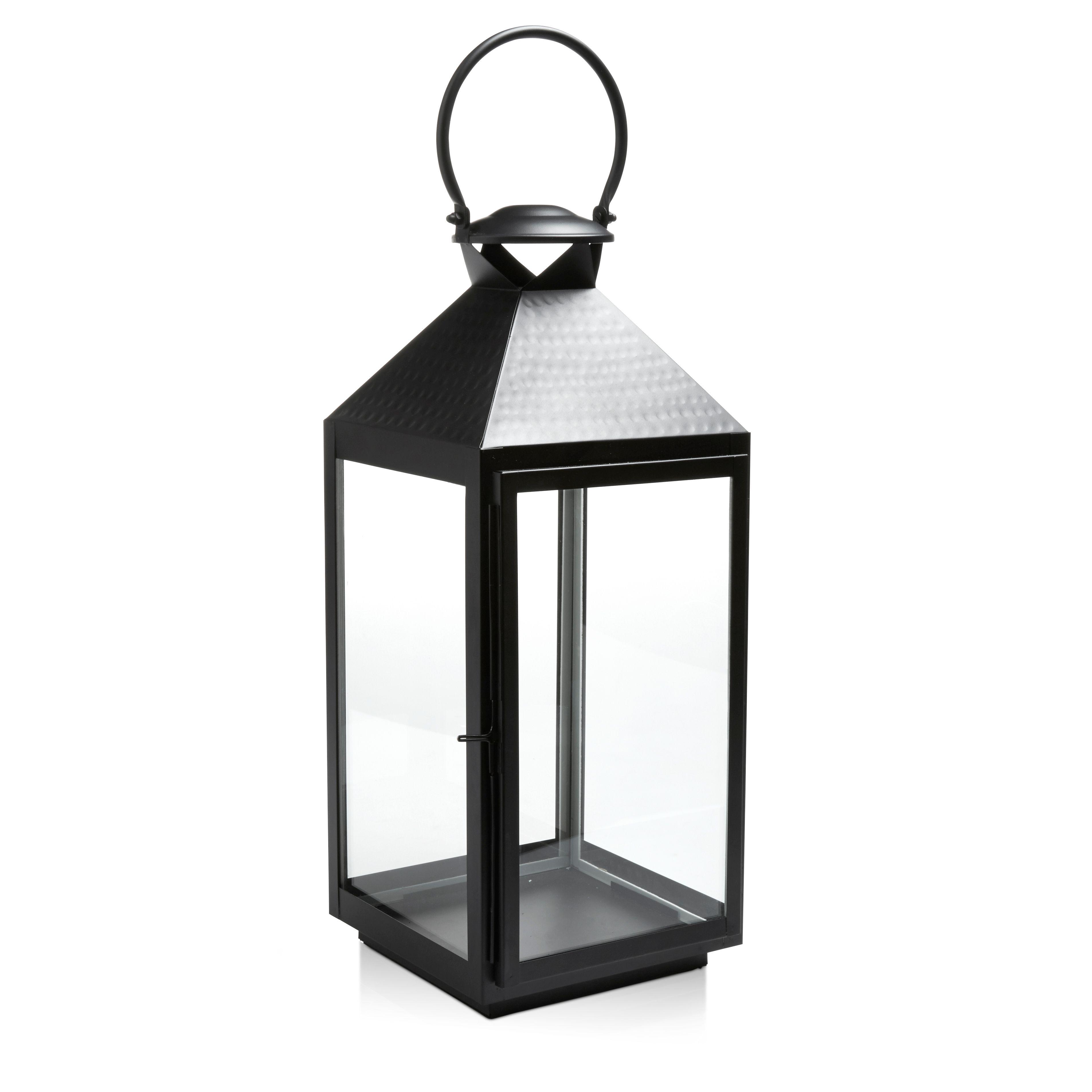 Black Iron & Glass Hurricane Lantern, Large | Departments | DIY at B&Q