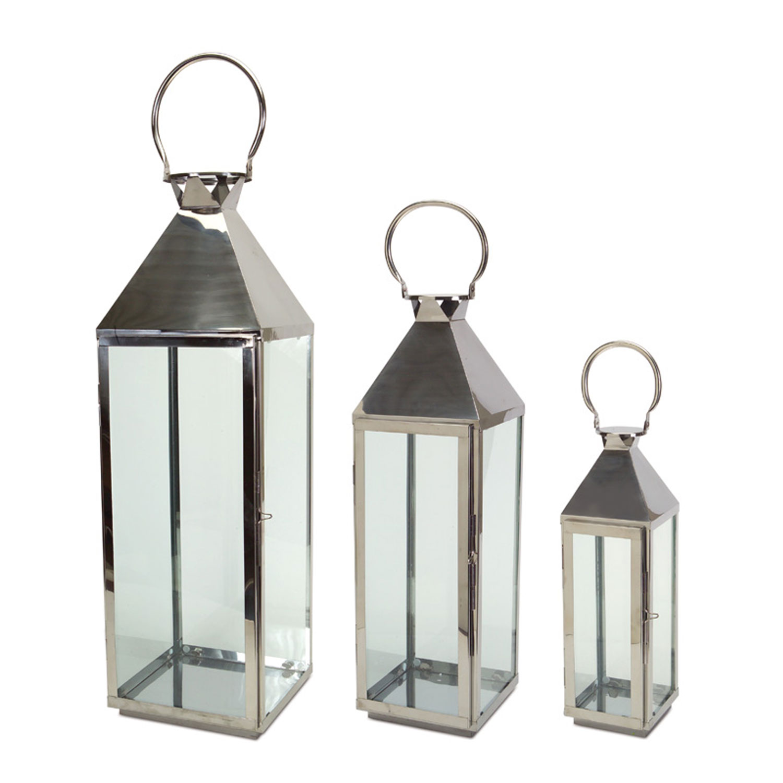 Silver Lantern, Set Of Three Melrose International Indoor Candle ...