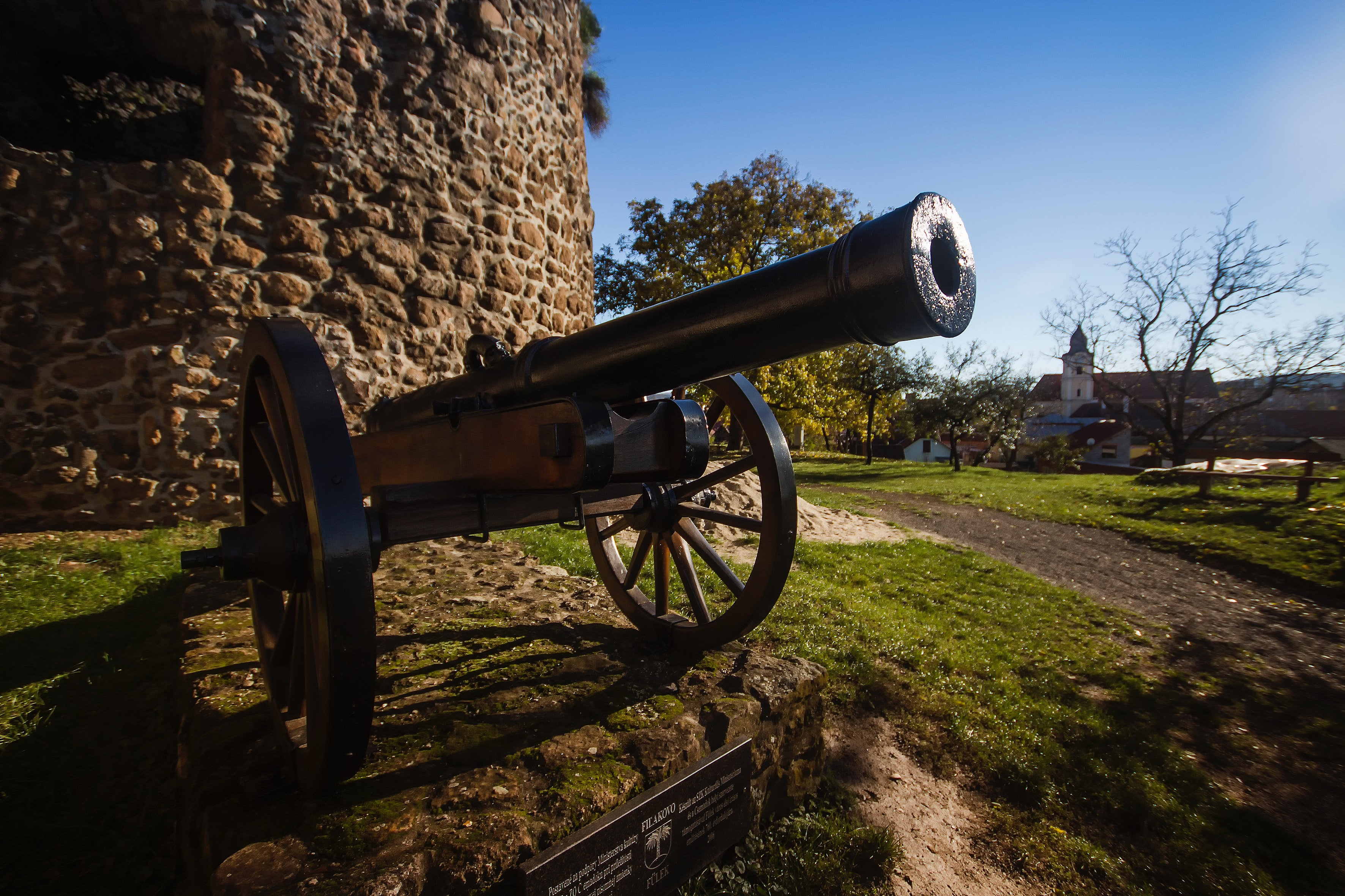 Black Cannon in Front of the Brick Wall Building, Outdoors, Military, Park, Landscape, HQ Photo