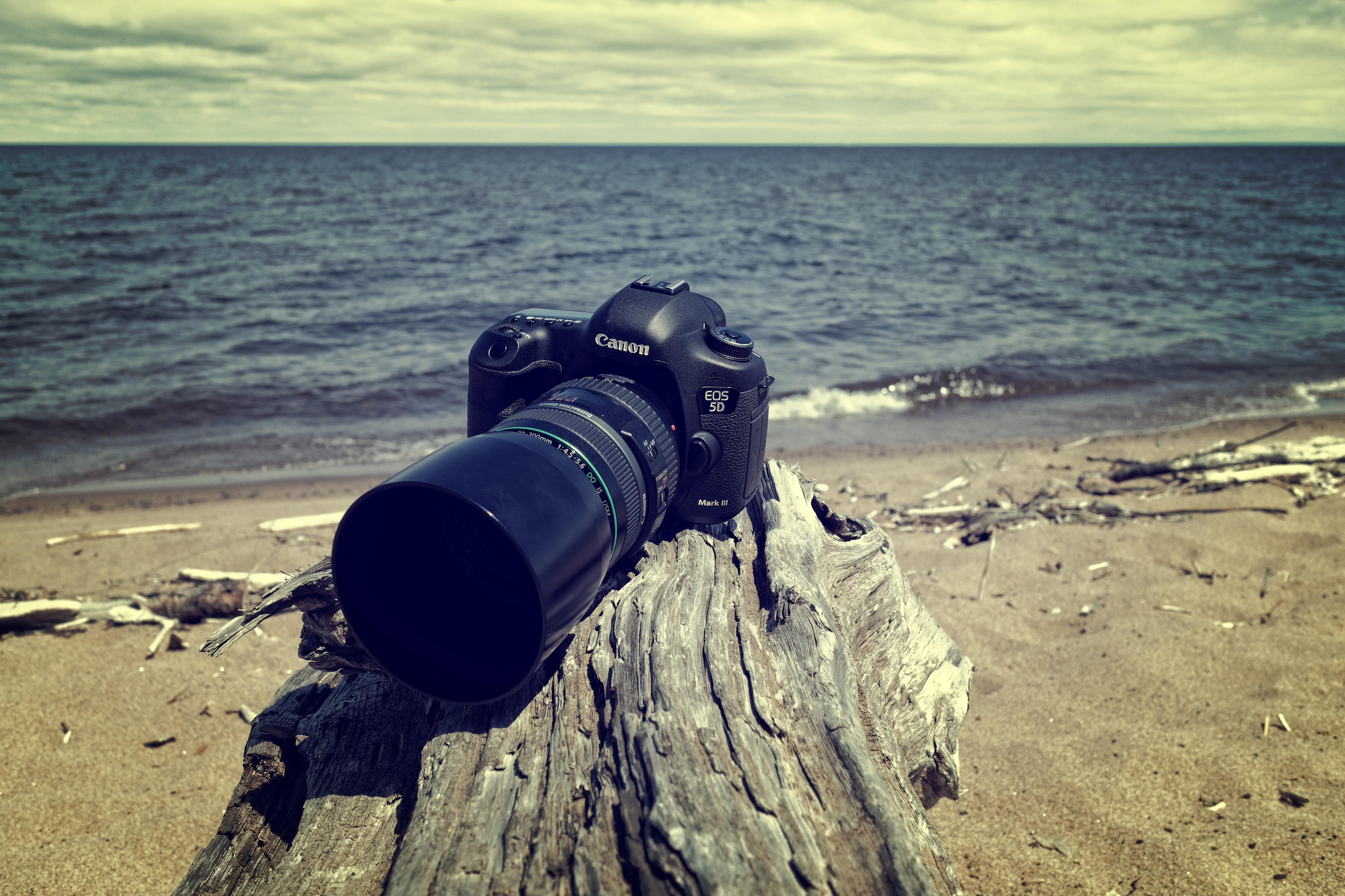 Black canon dslr camera near sea shore photo