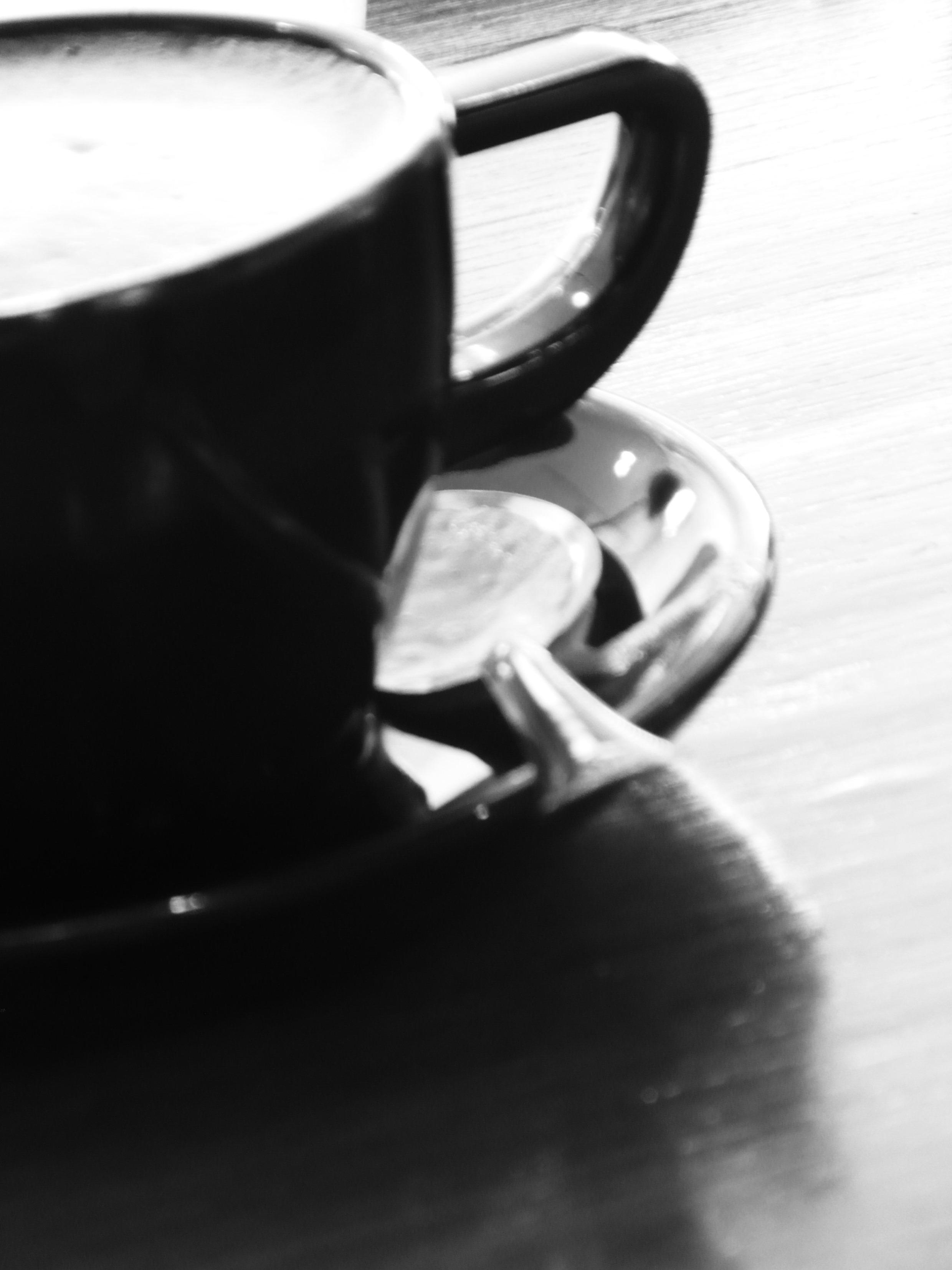 Black coffee cup b&w image photo
