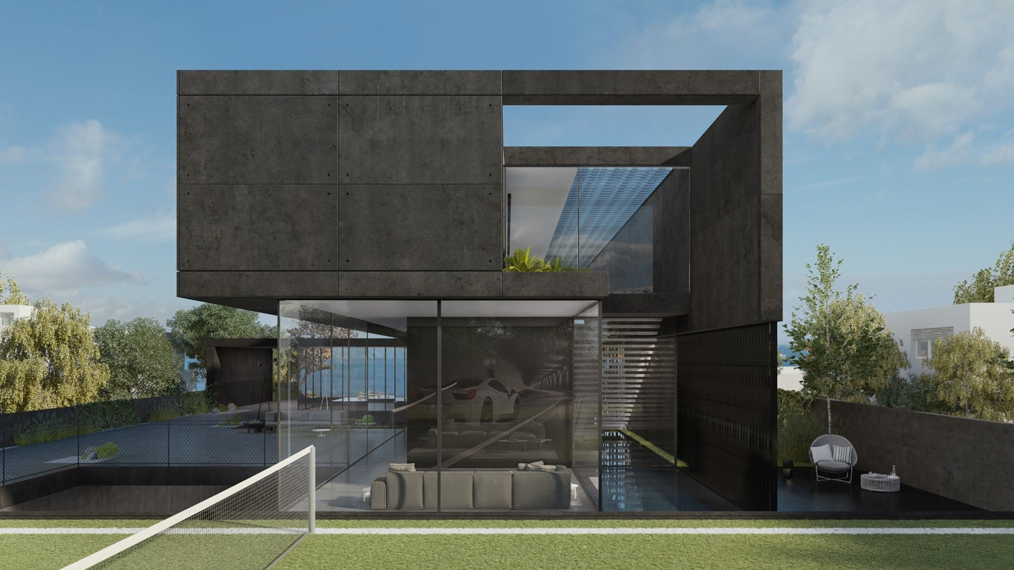 Black concrete biulding photo
