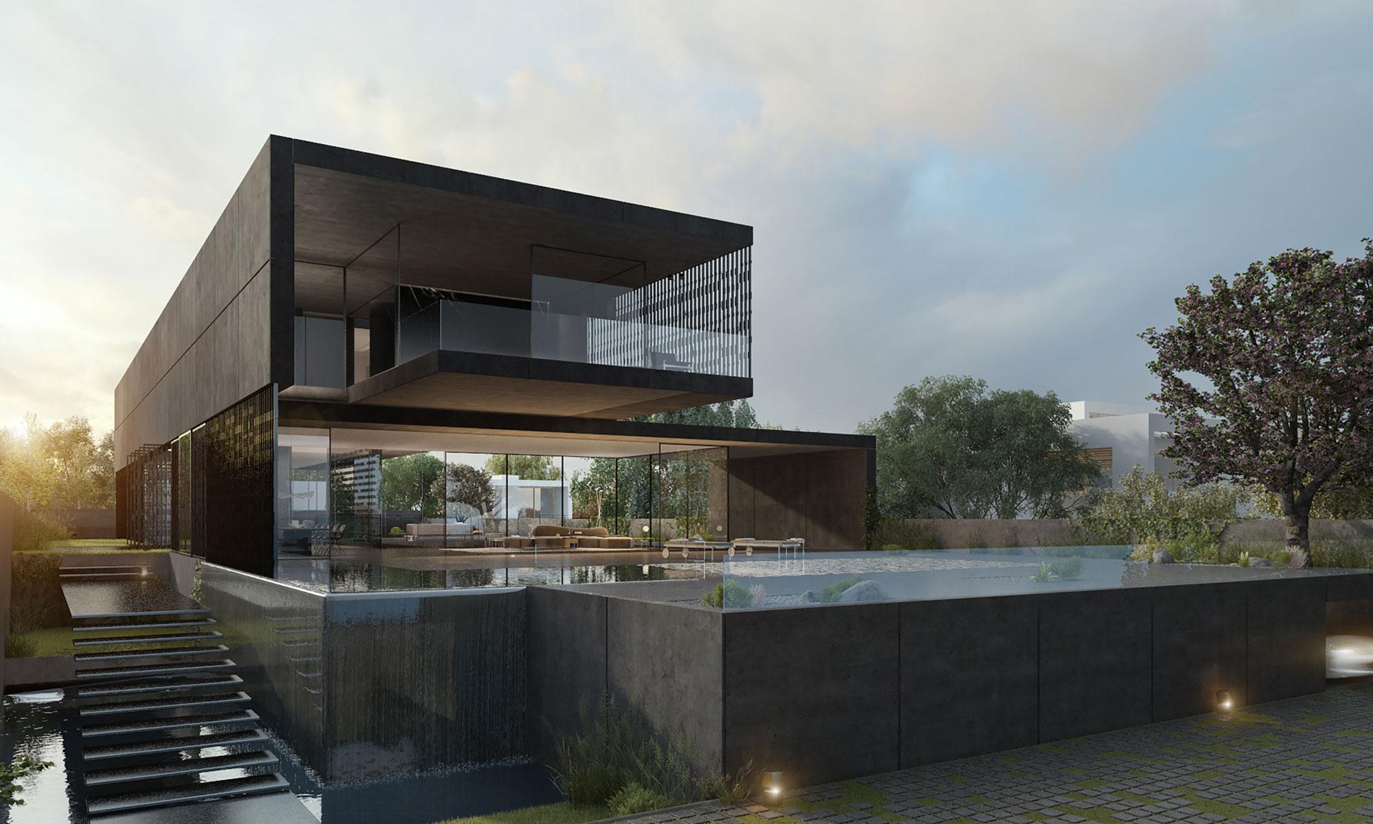 Black Concrete House - Pitsou Kedem