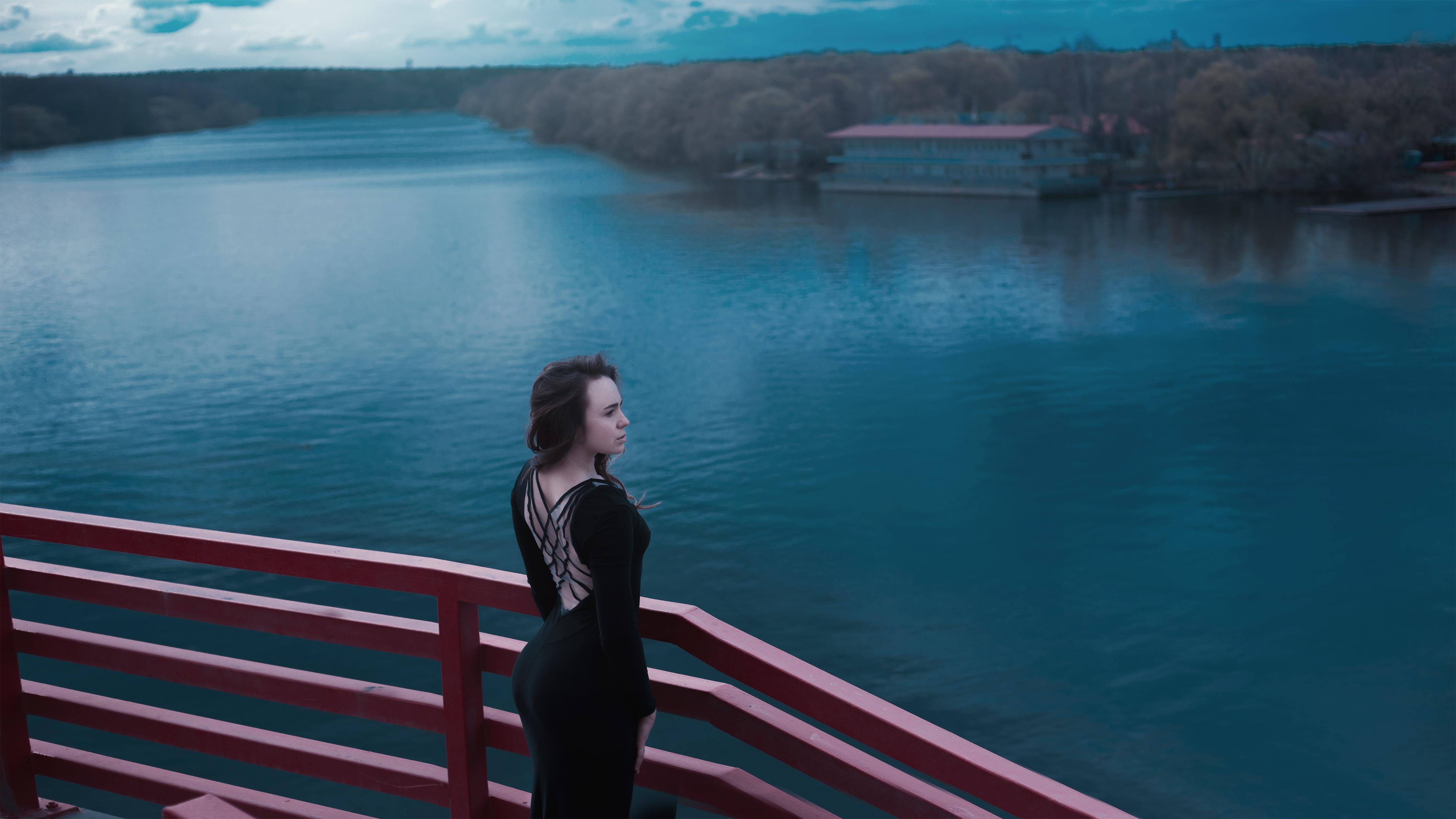 Black dress with a slit photo