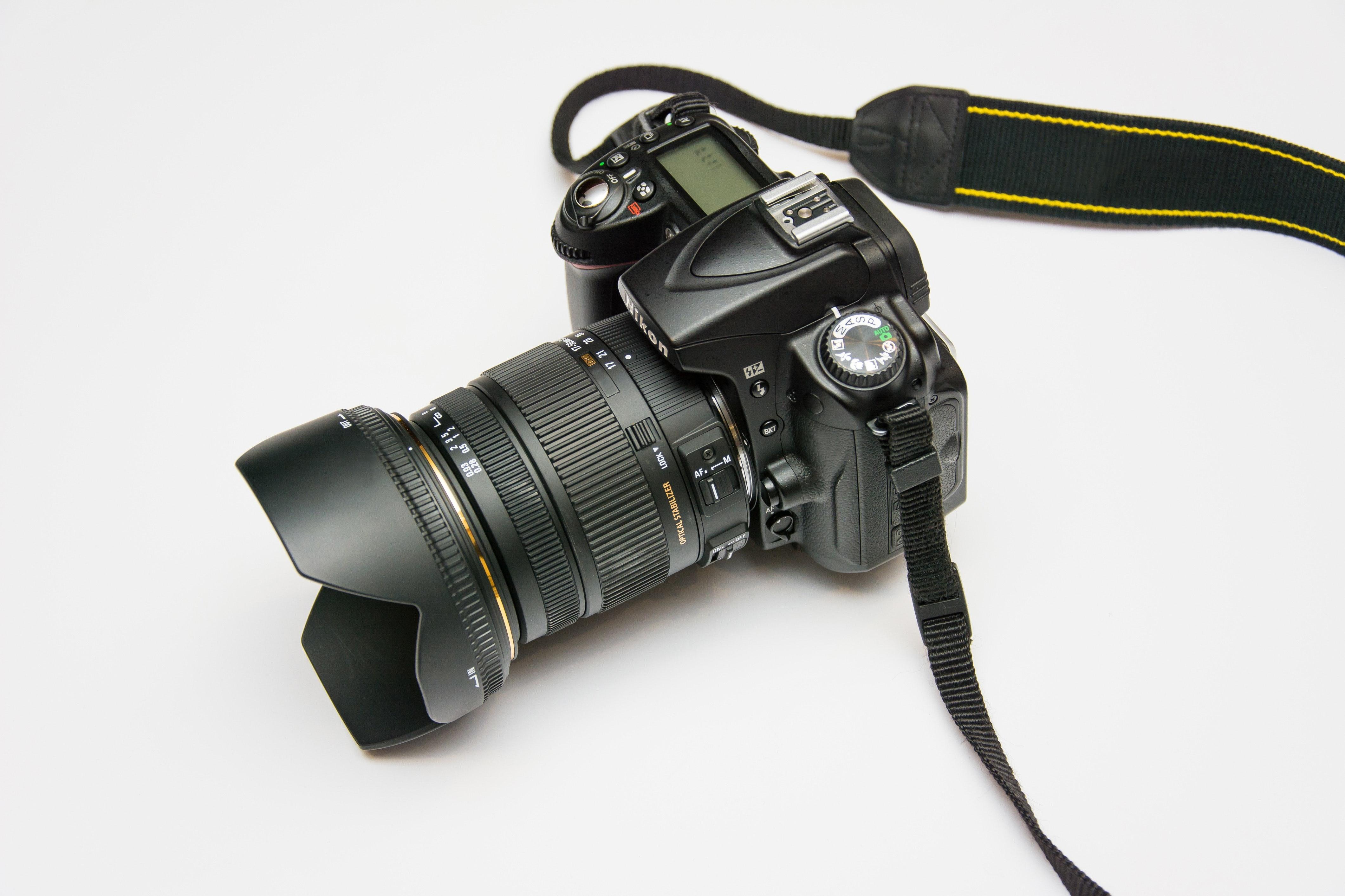 Black Dslr Camera on White Surface, Camera, Dslr, Electronics, Lens, HQ Photo