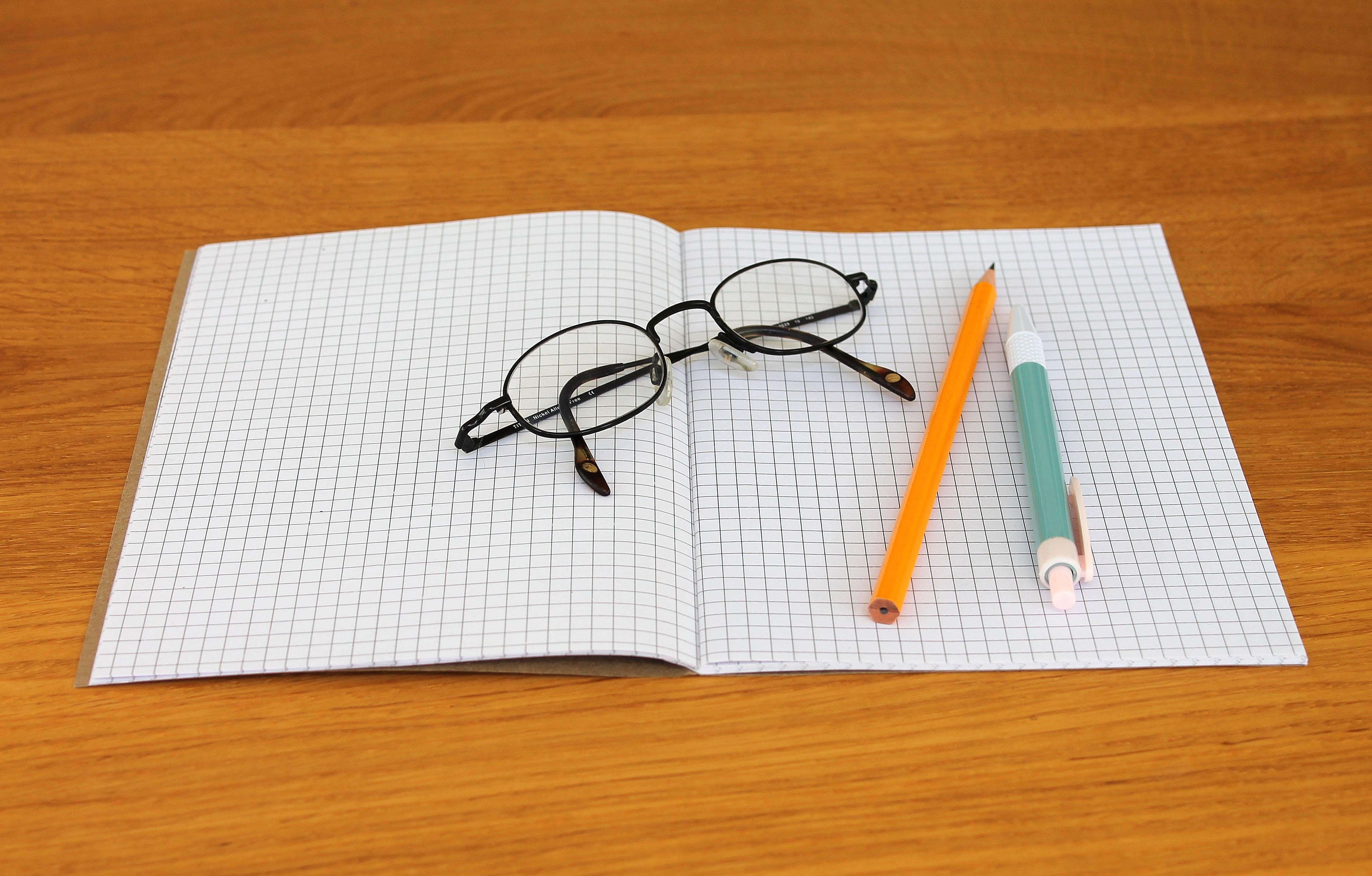 Black Framed Eyeglass on Graphing Paper, Ballpen, Blank, Close-up, Eyeglasses, HQ Photo