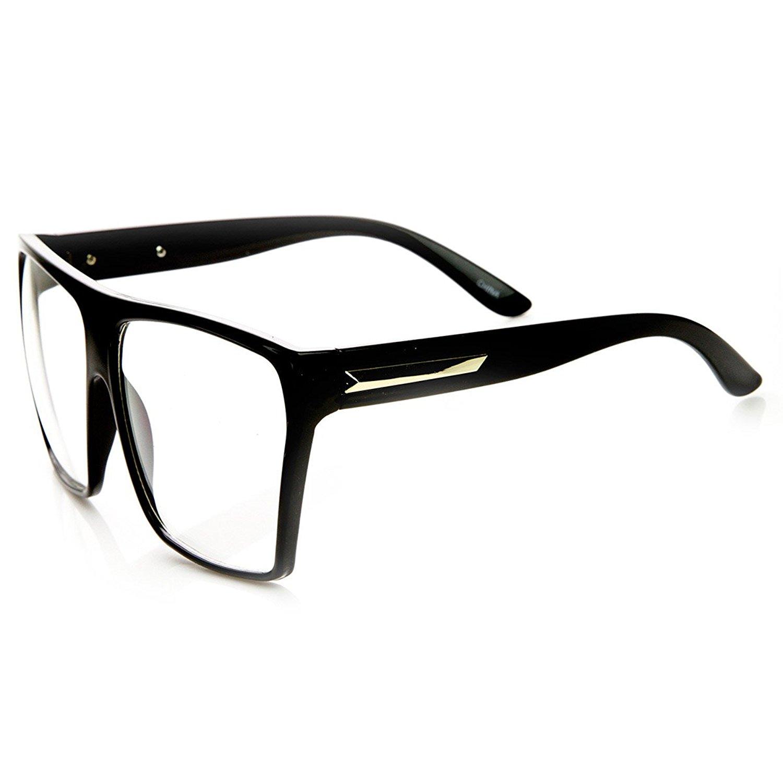 Amazon.com: Large Oversized Retro Fashion Clear Lens Square Glasses ...