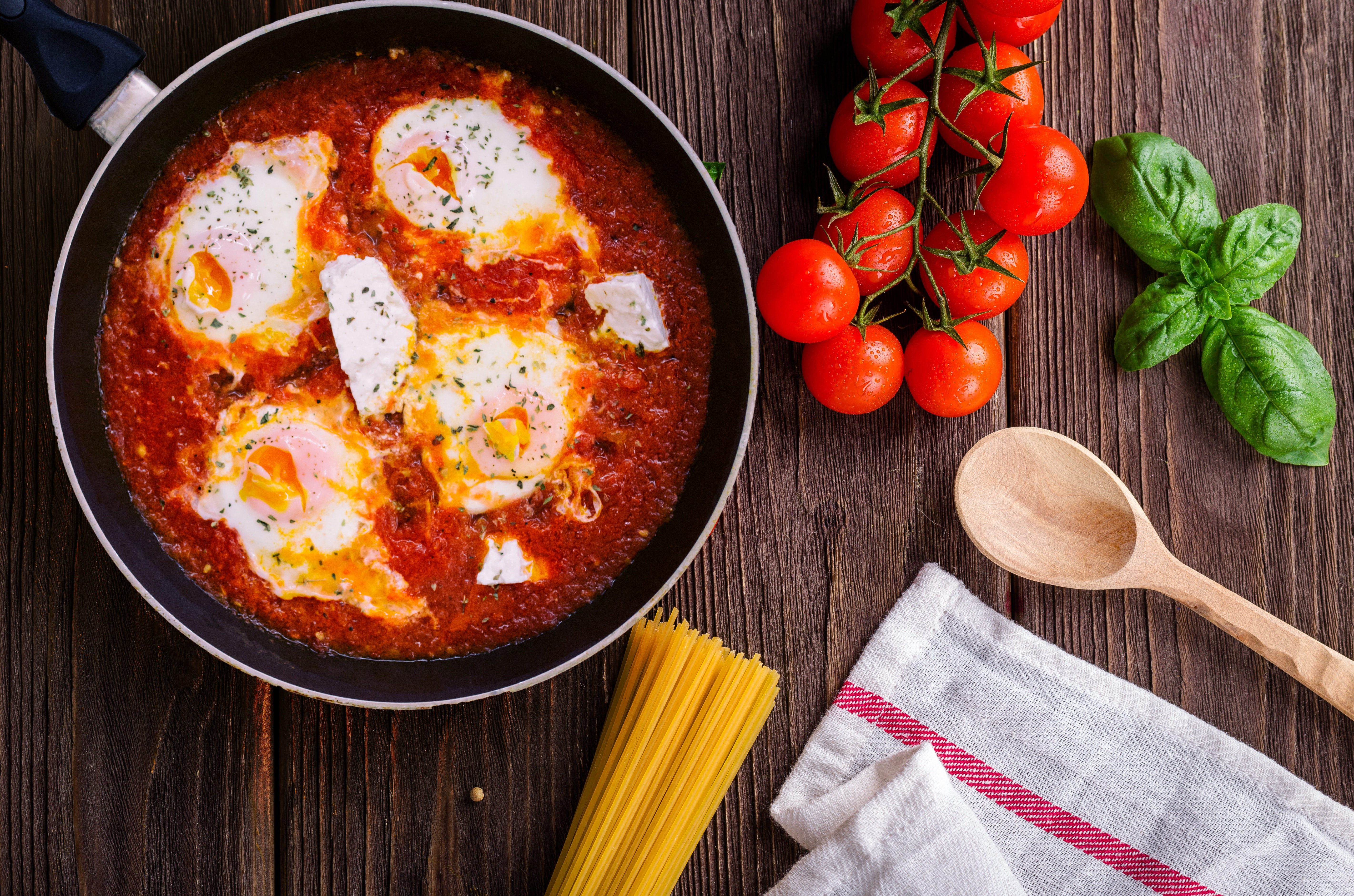 Black Frying Pan With Spaghetti Sauce Near Brown Wooden Ladle and Ripe Tomatoes, Basil, Ingredient, Wood, Tomatoes, HQ Photo