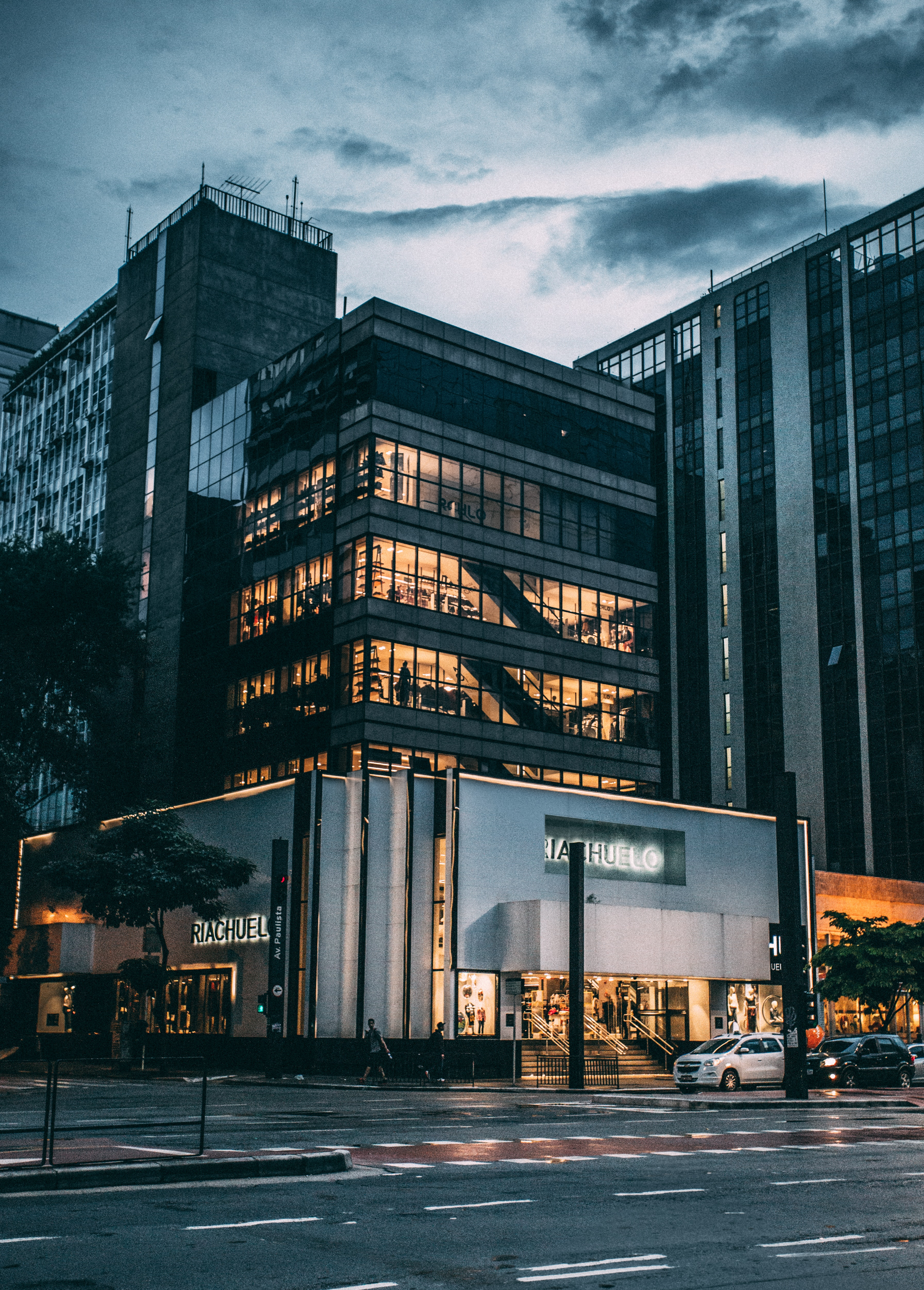 Black High Rise Building Under Grey and White Sky during Night Time, Brazil, Building, City, Department store, HQ Photo