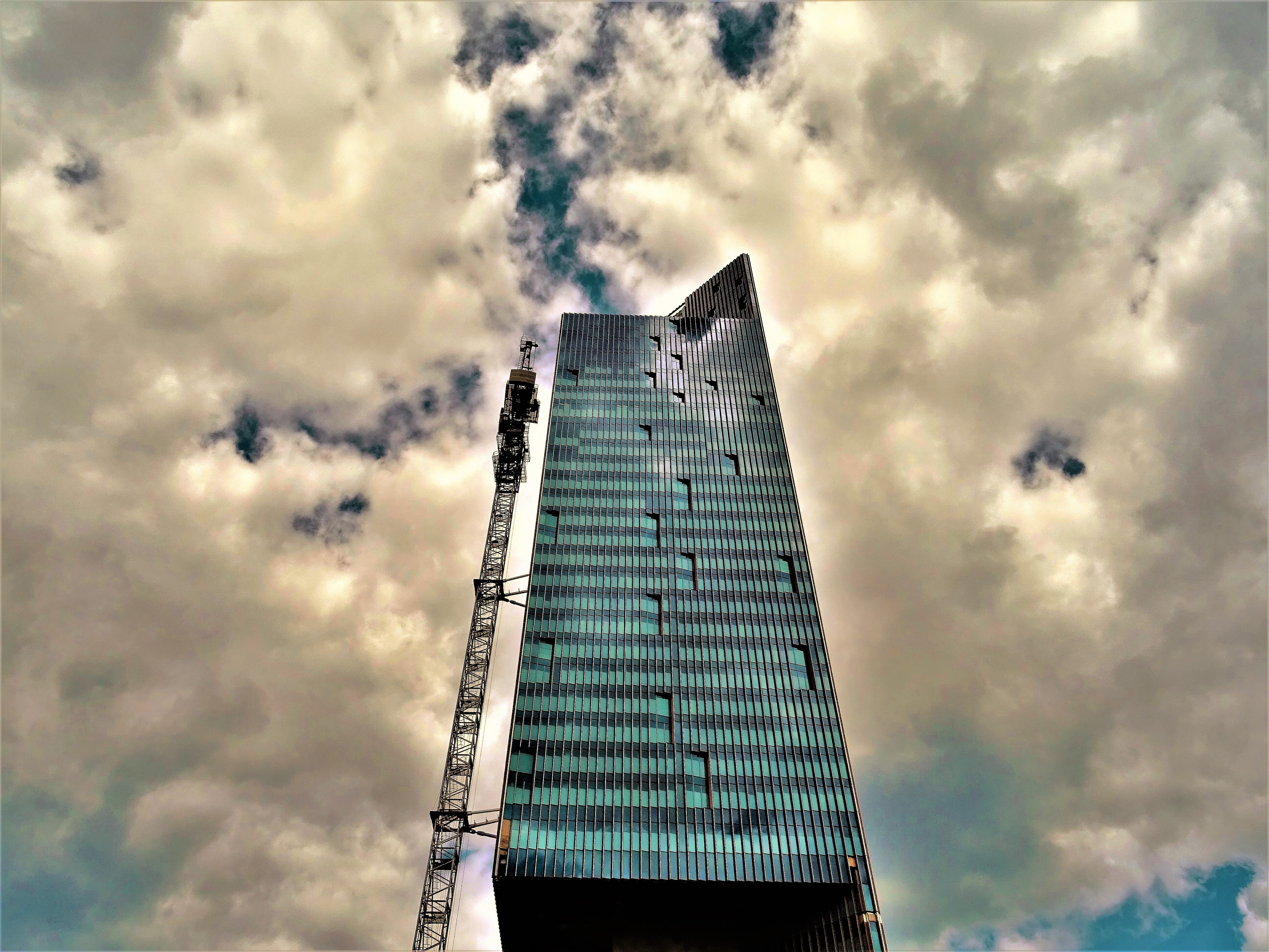 Black High-rise Building With White Clouds, Perspective, Urban, Travel, Tower, HQ Photo