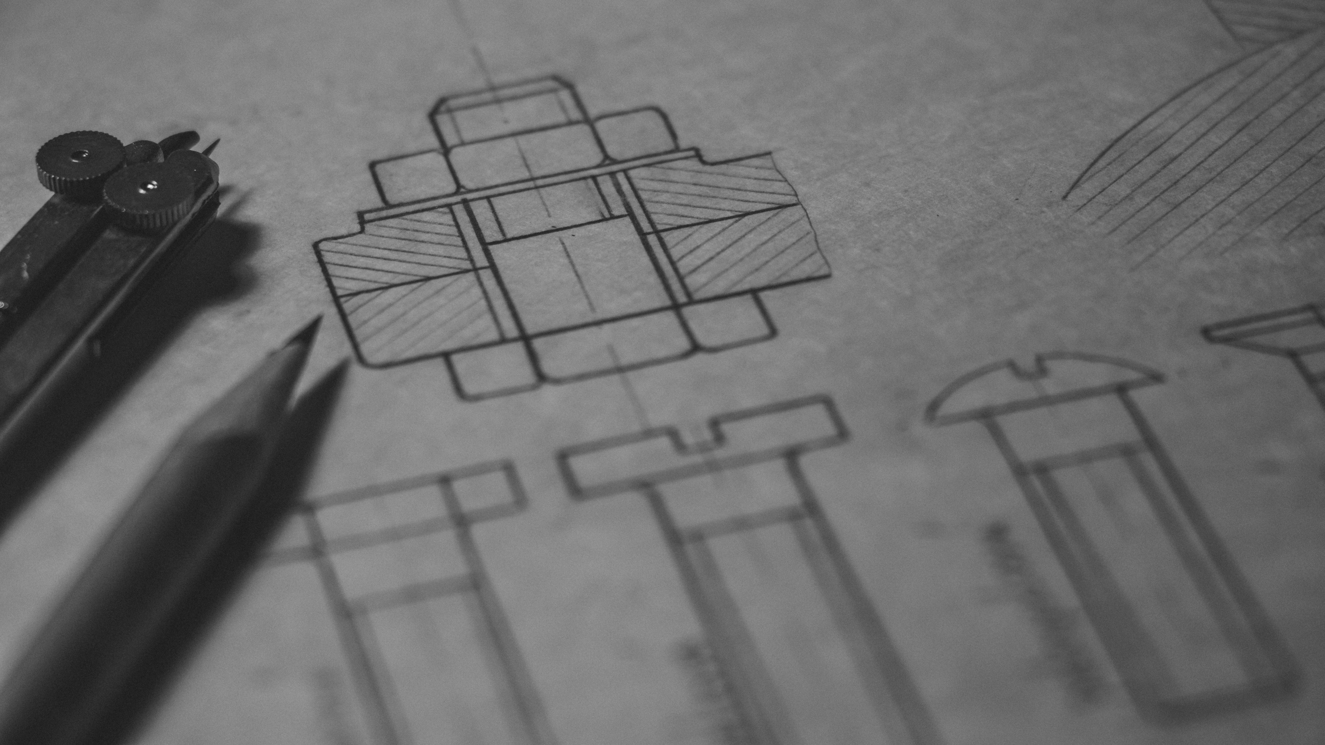 Black Illustration on White Printer Paper, Black and white, Blueprint, Blur, Close-up, HQ Photo