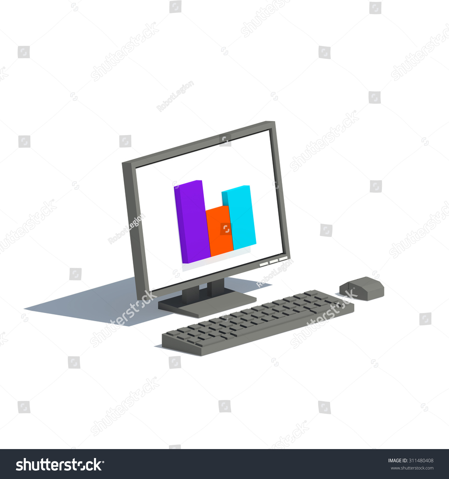 Low Poly Black Gray Computer Monitor Stock Illustration 311480408 ...