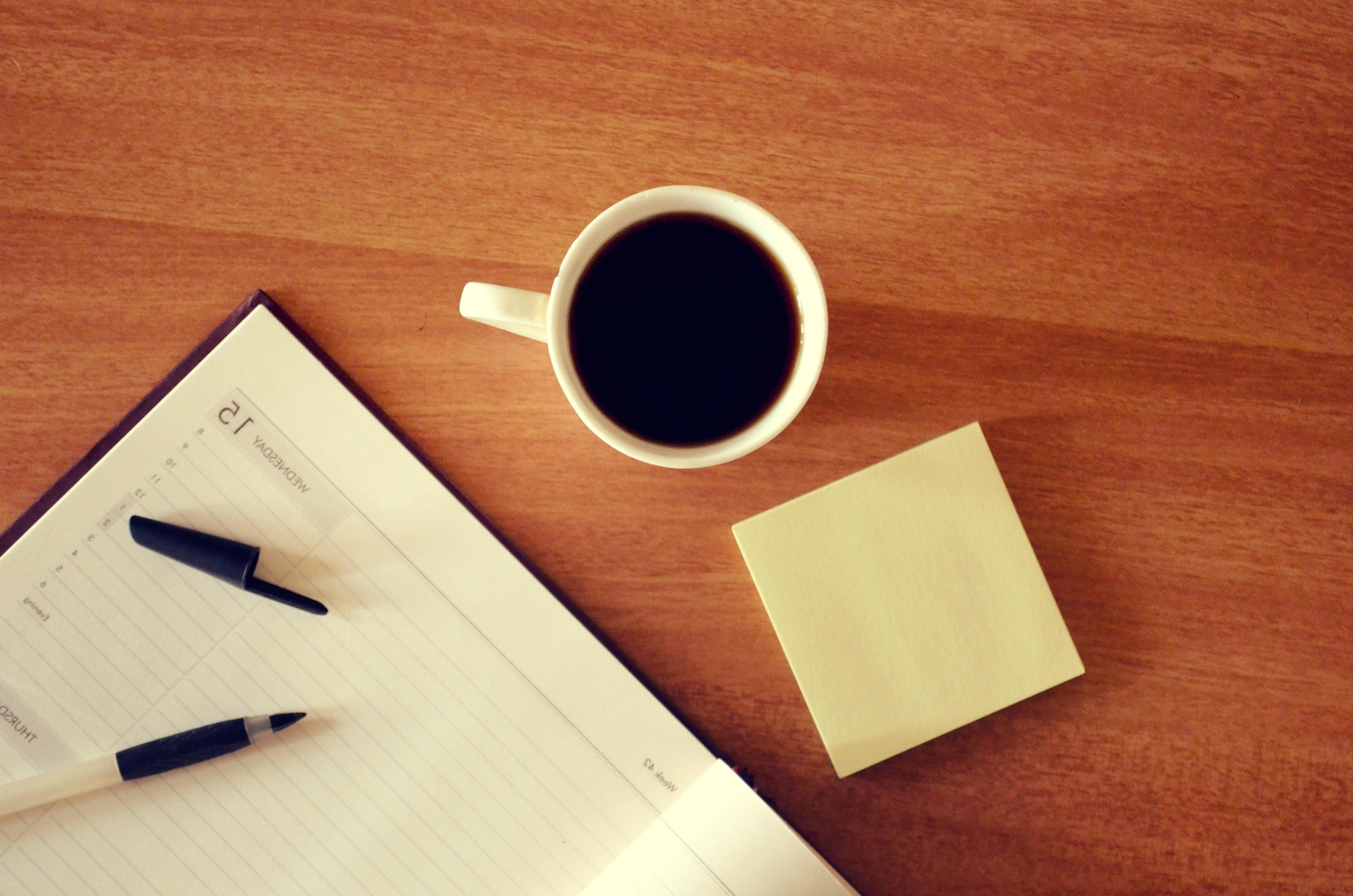 Free picture: paper, coffee, wood, laptop, desk, table, notebook ...