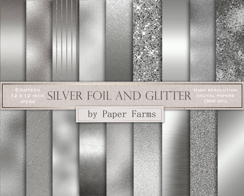Silver digital paper silver foil digital paper silver