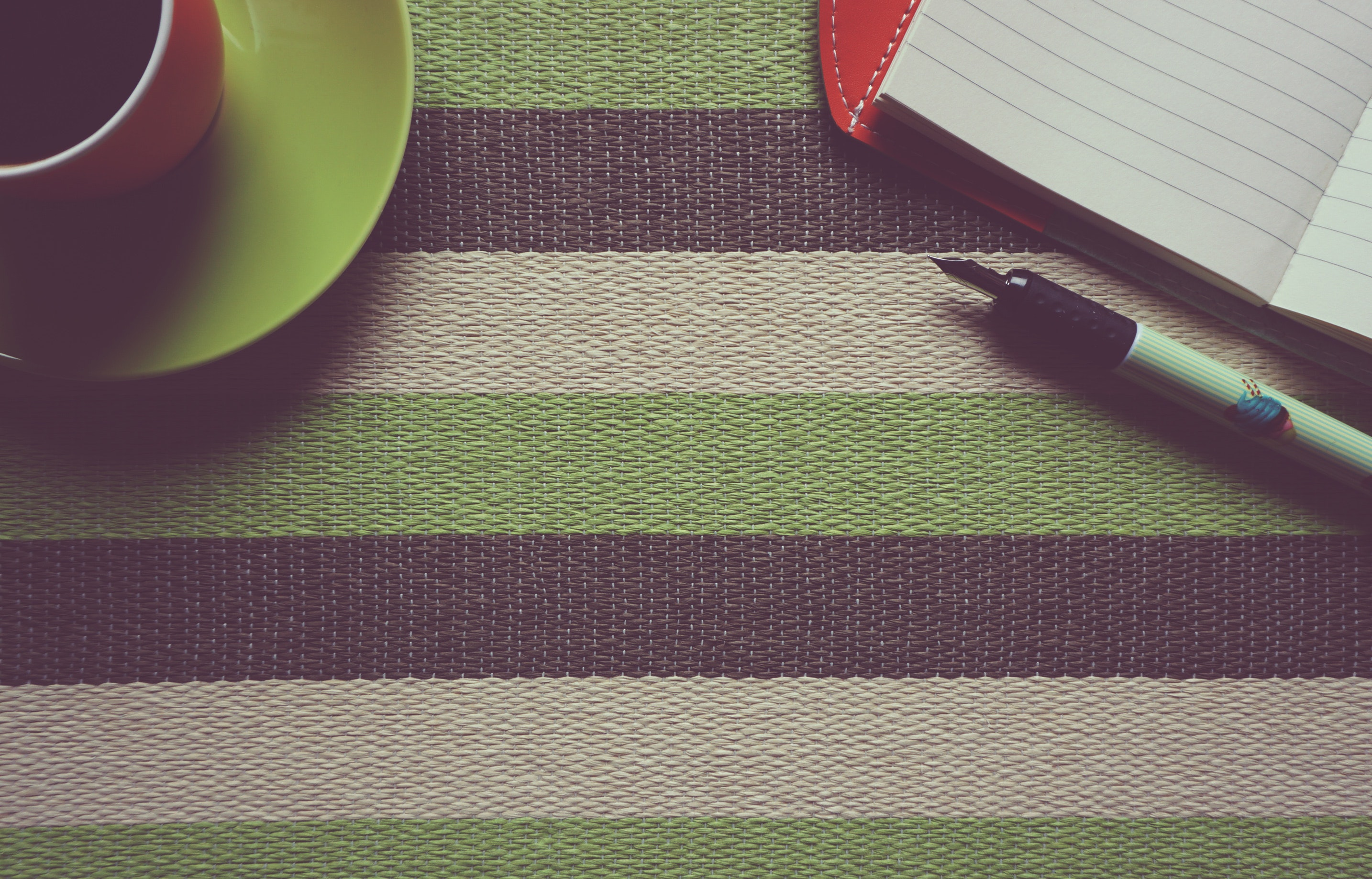 Black Pen on Gray Black and Green Striped Textile, Coffee, Pattern, Work, Texture, HQ Photo
