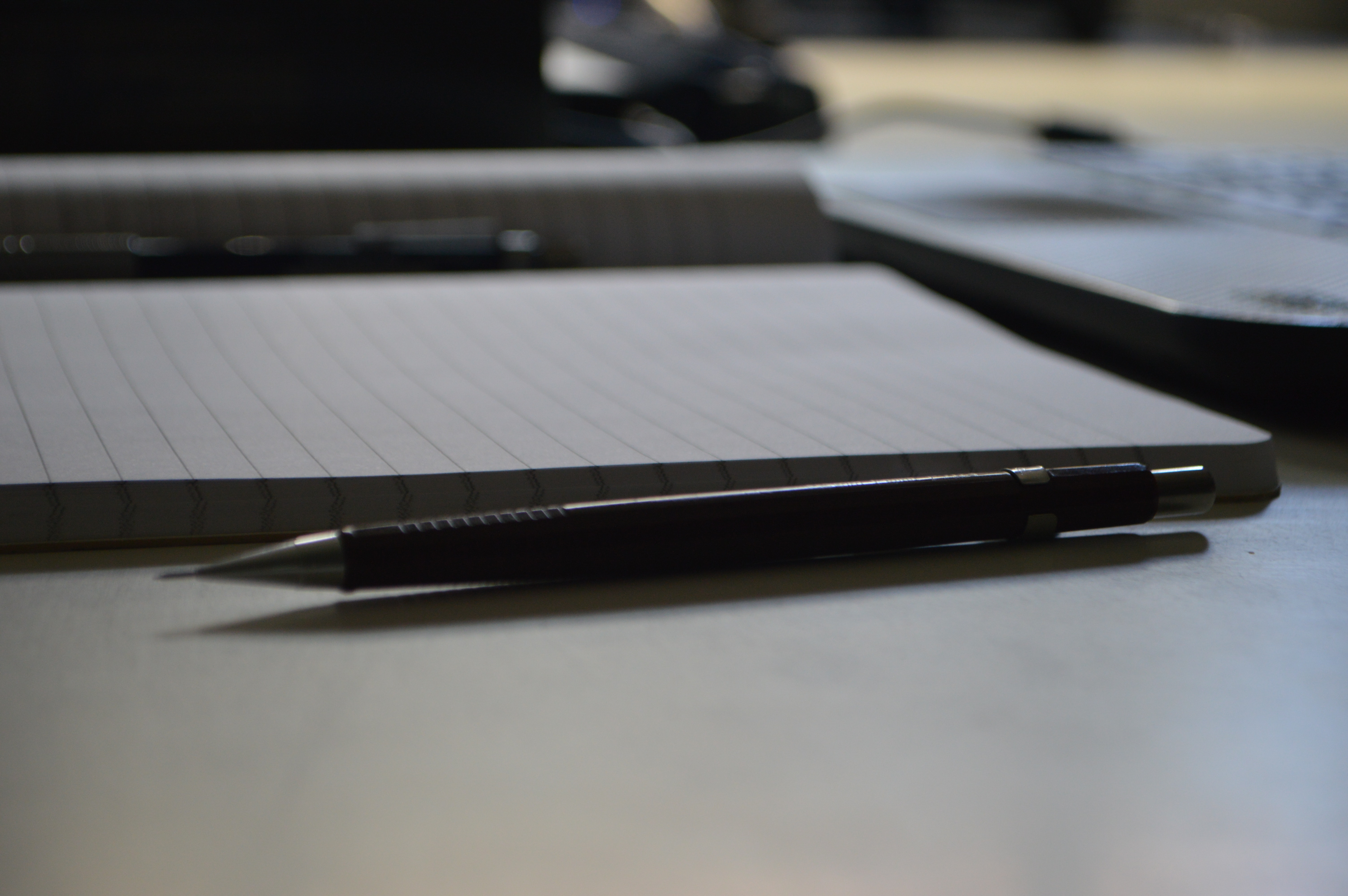 Black Point Pen Beside Ruled Paper, Depth of field, Notebook, Paper, Pencil, HQ Photo