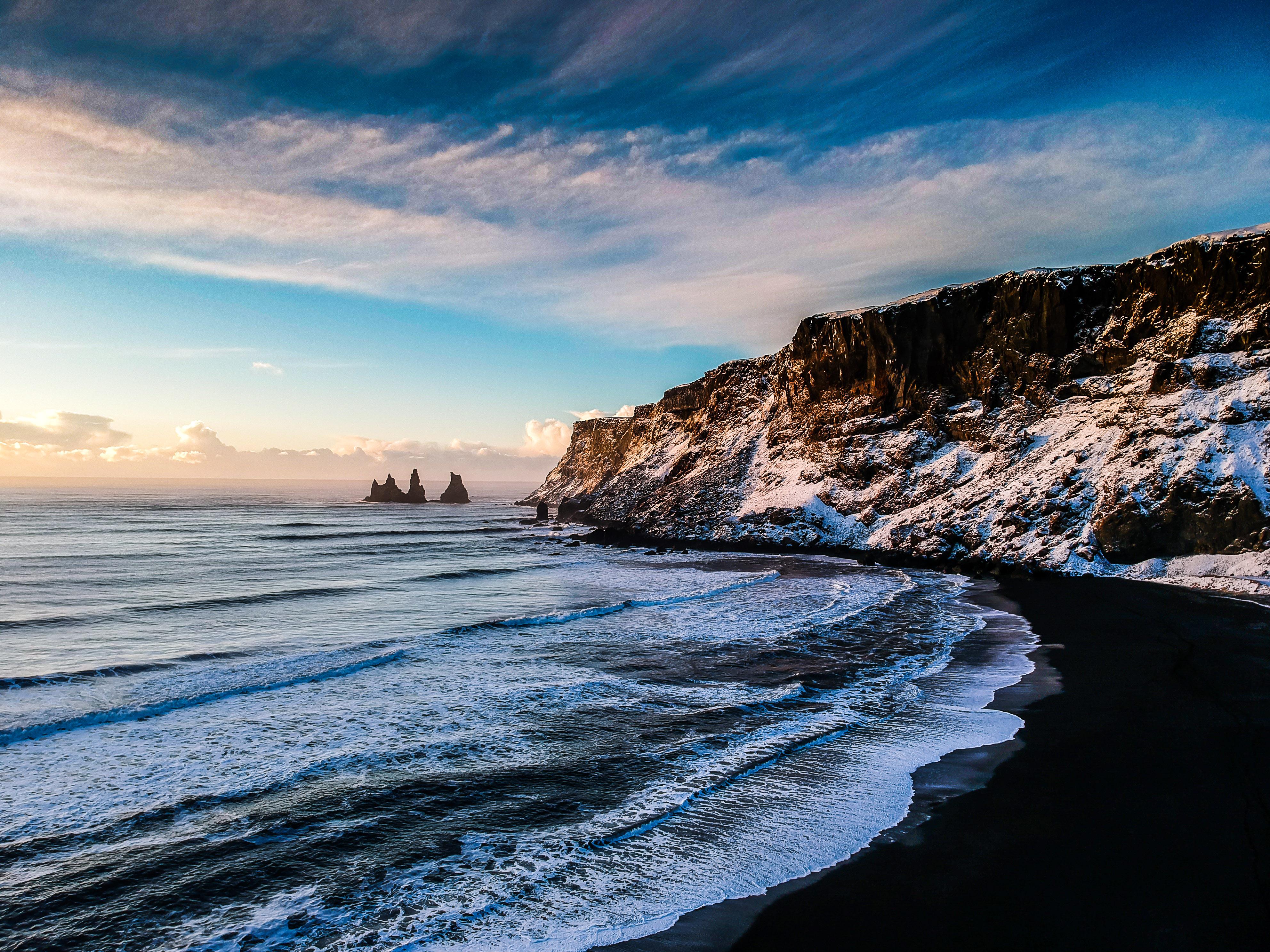 Black Sand Beach, Bay, Beach, Coast, Iceland, HQ Photo