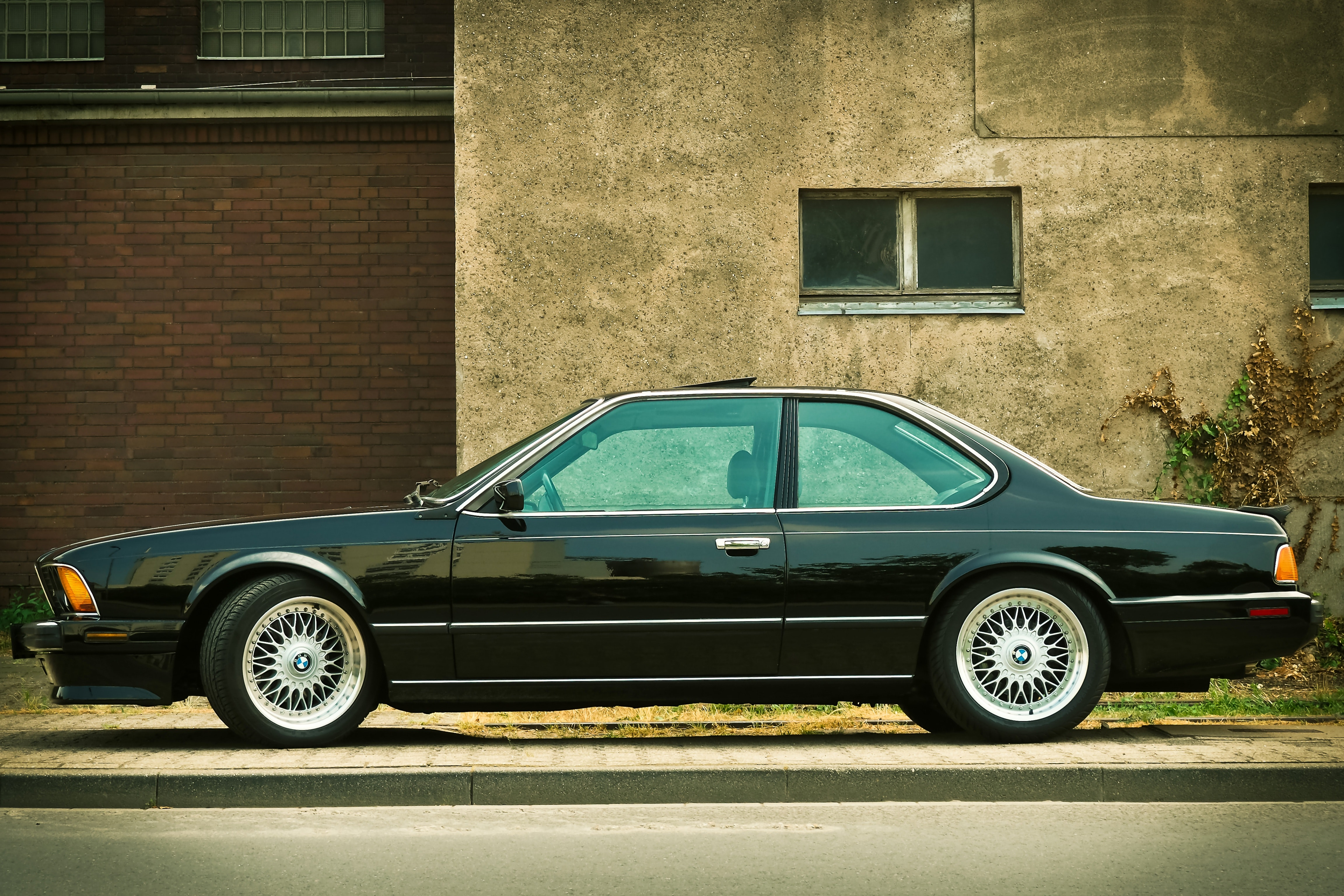 Black Sedan Parked Near Gray House, Asphalt, Automotive, Car, Classic, HQ Photo