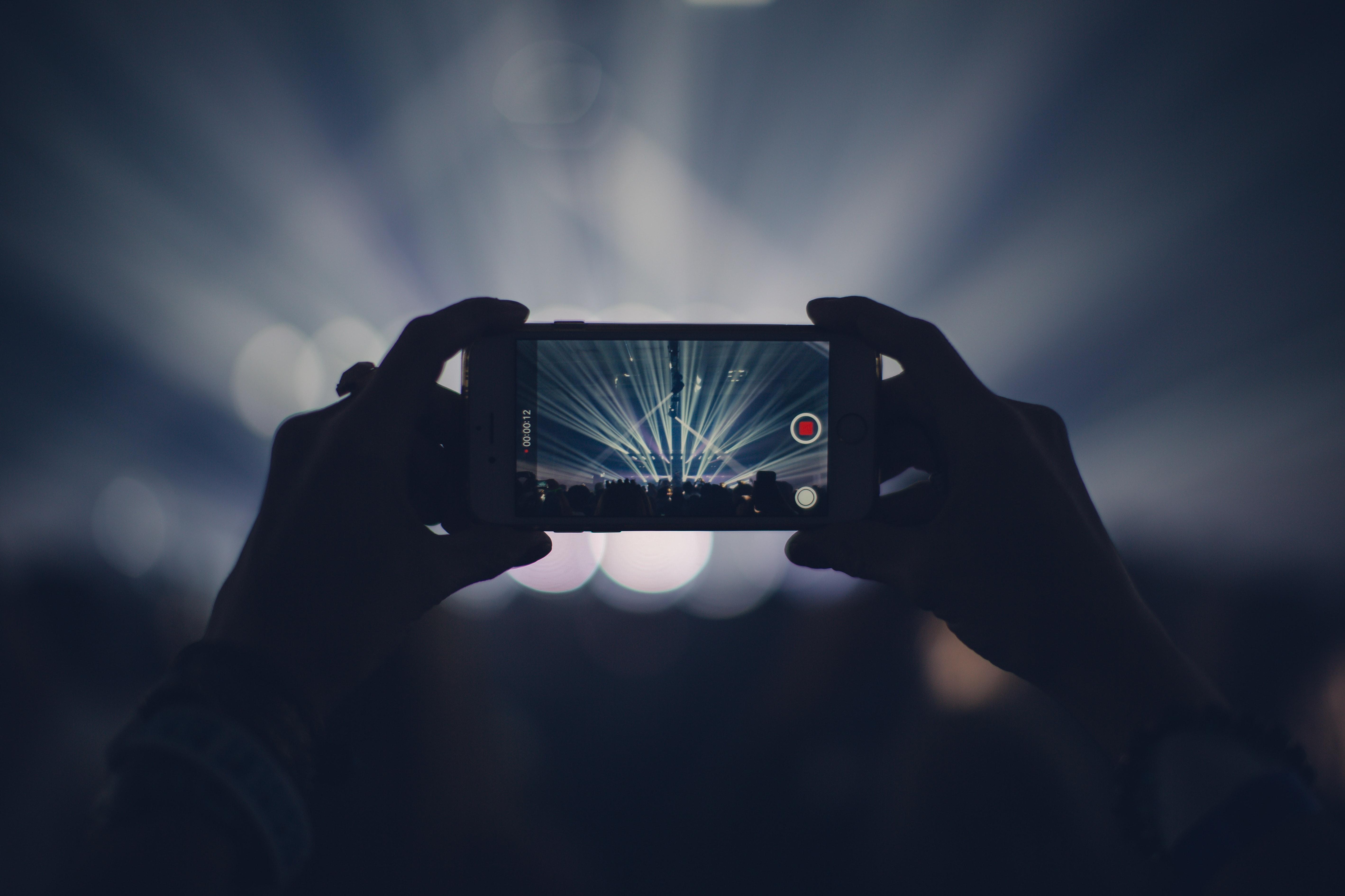 Black smartphone turned on photo