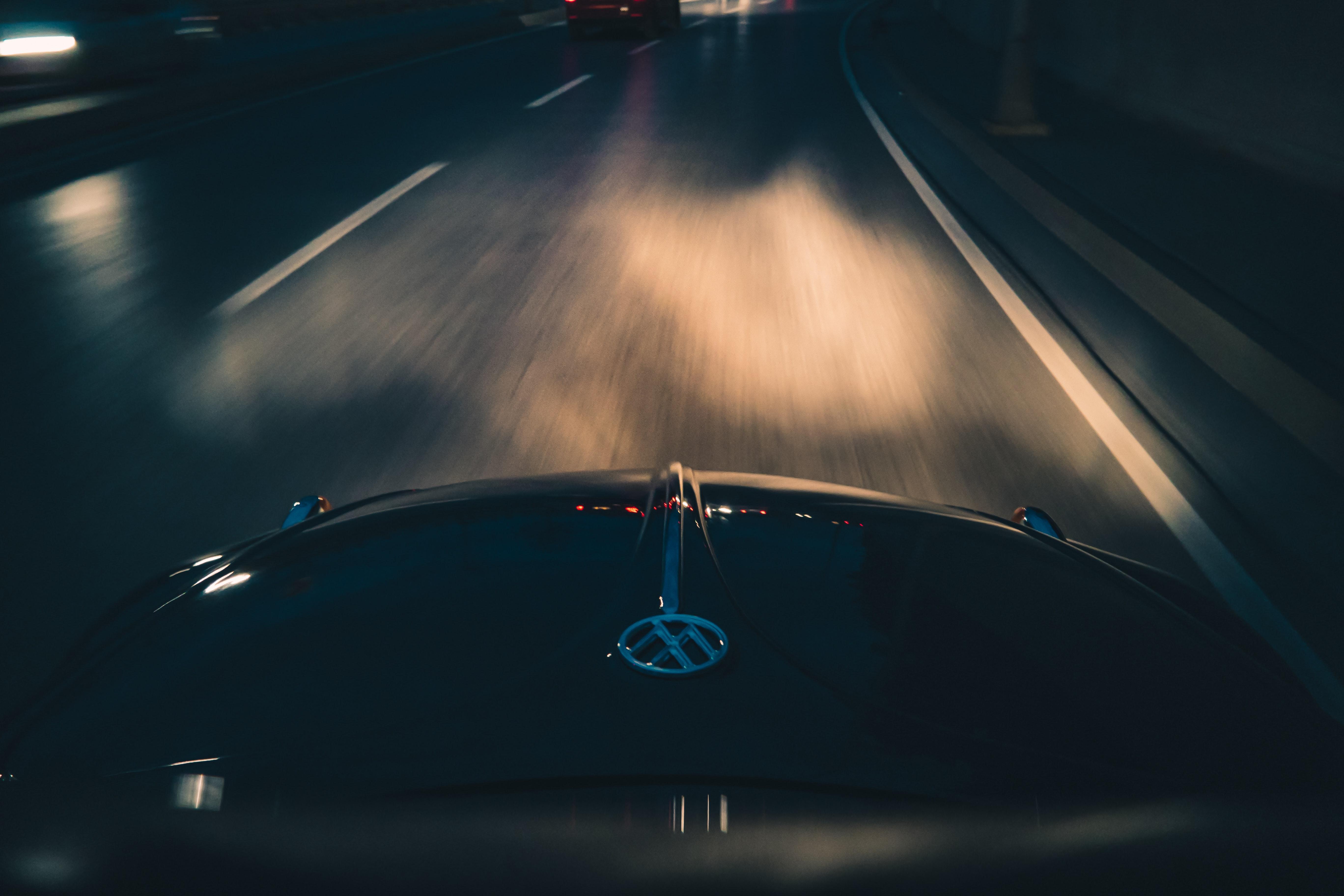 Black Volkswagen Car on Gray Asphalt Road, Asphalt, Long exposure, Vehicle, Travel, HQ Photo