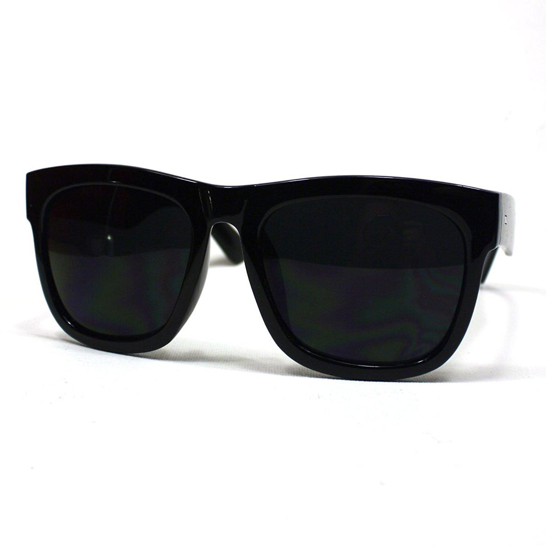 Amazon.com: Oversized Sunglasses Super Dark Lens Black Thick Horn ...