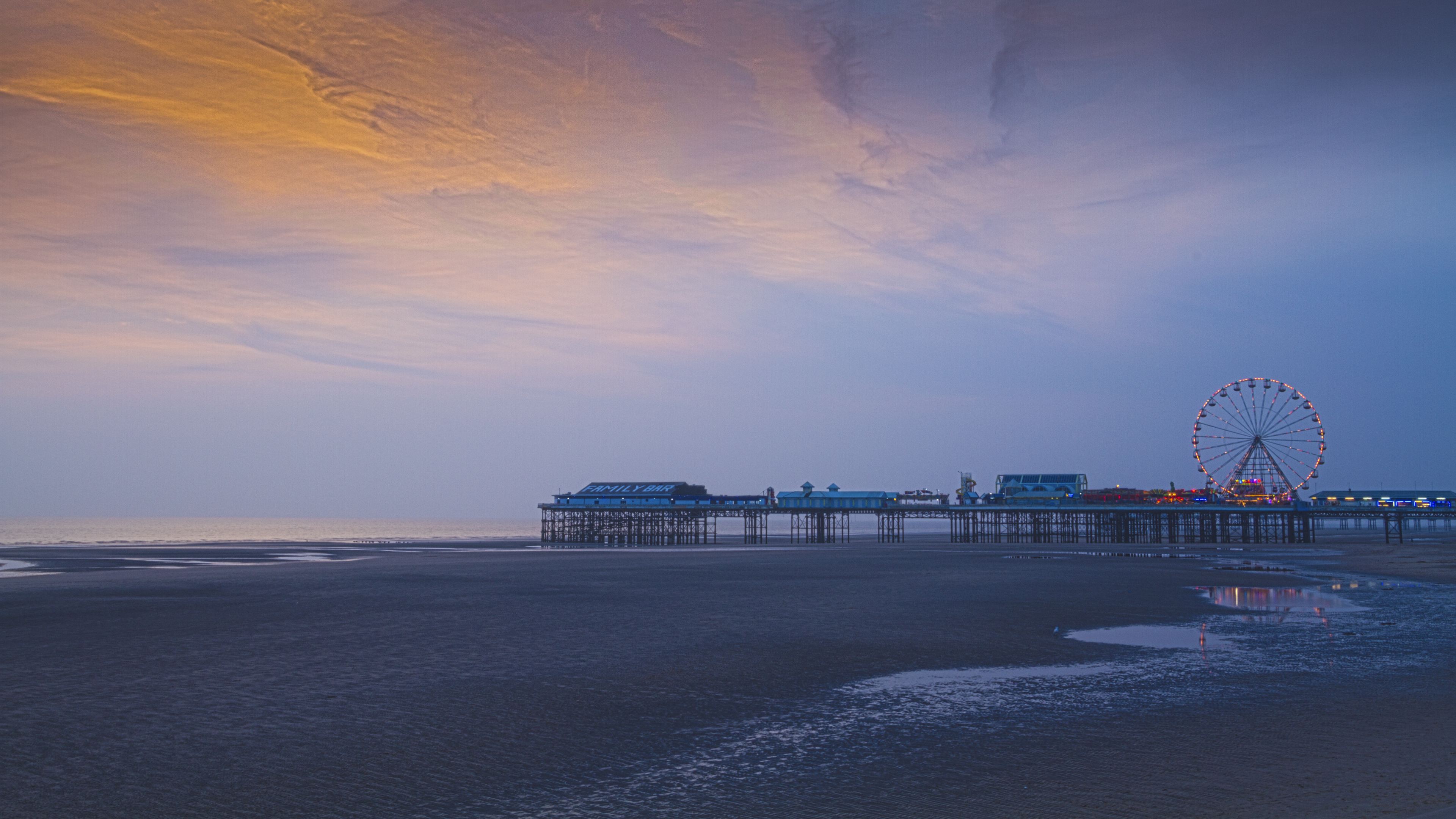 Blackpool central pier sunset photo