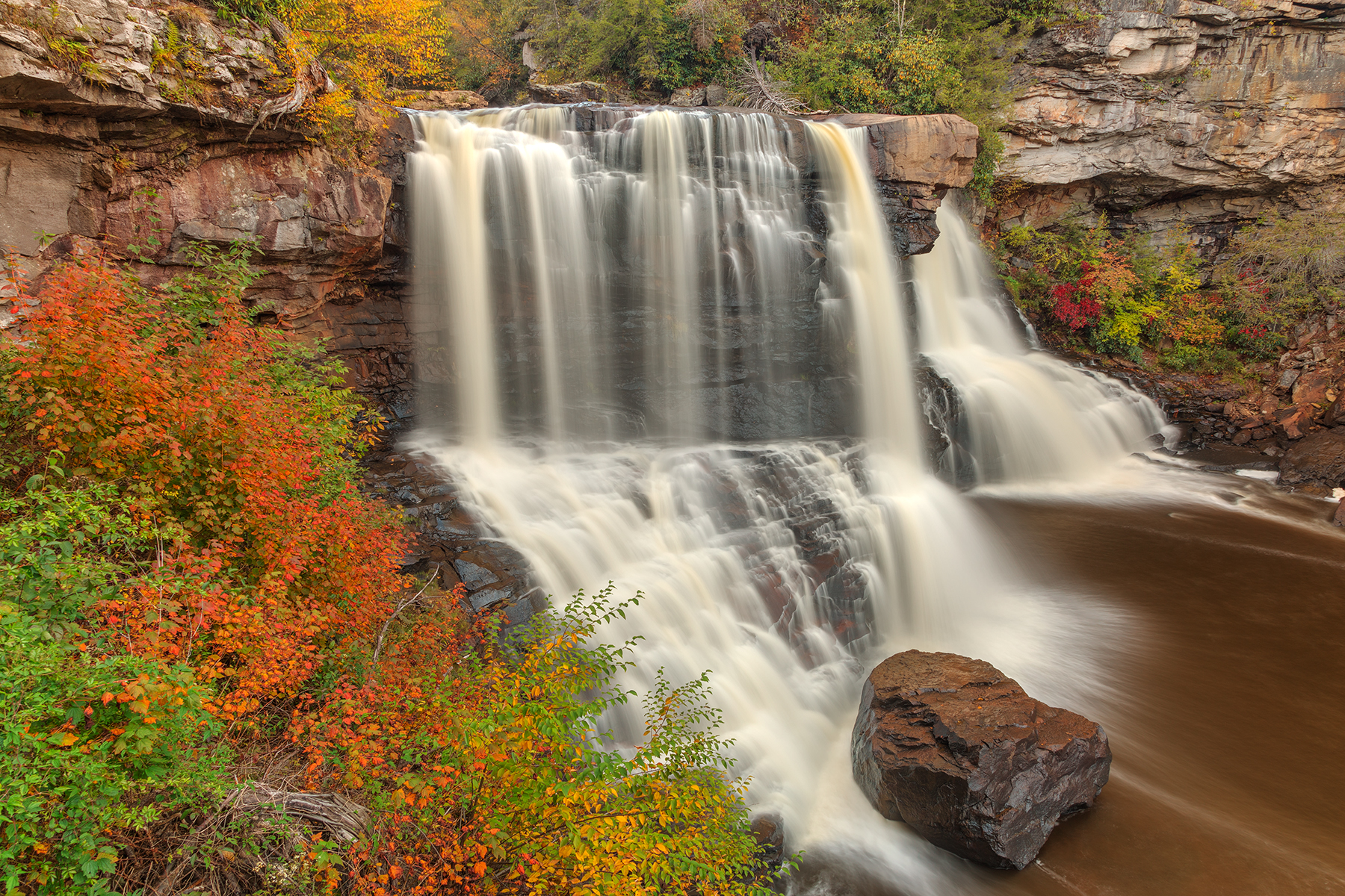 Blackwater Autumn Falls - HDR, Allegany, Rapids, Soft, Smooth, HQ Photo