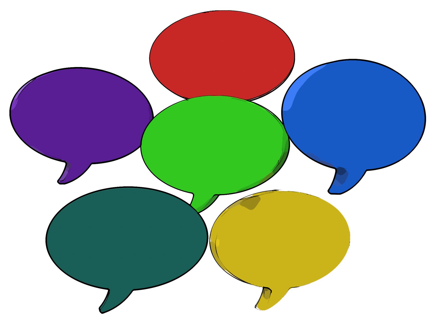 Blank speech balloon shows copy space for thought chat or idea photo