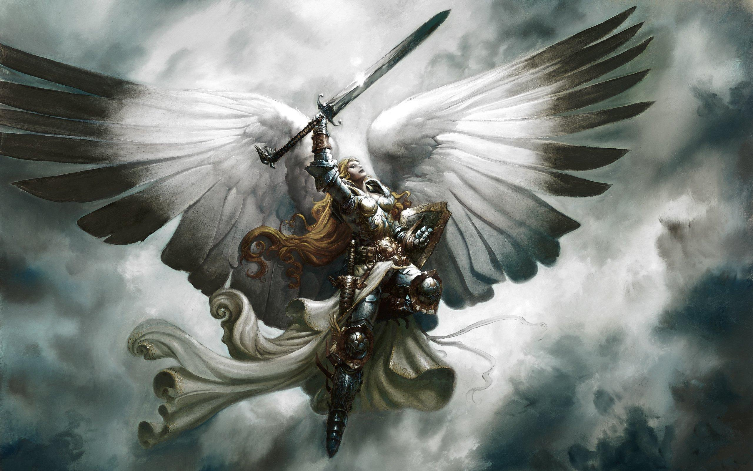 Blonde Angel With Sword | Cool Wallpapers