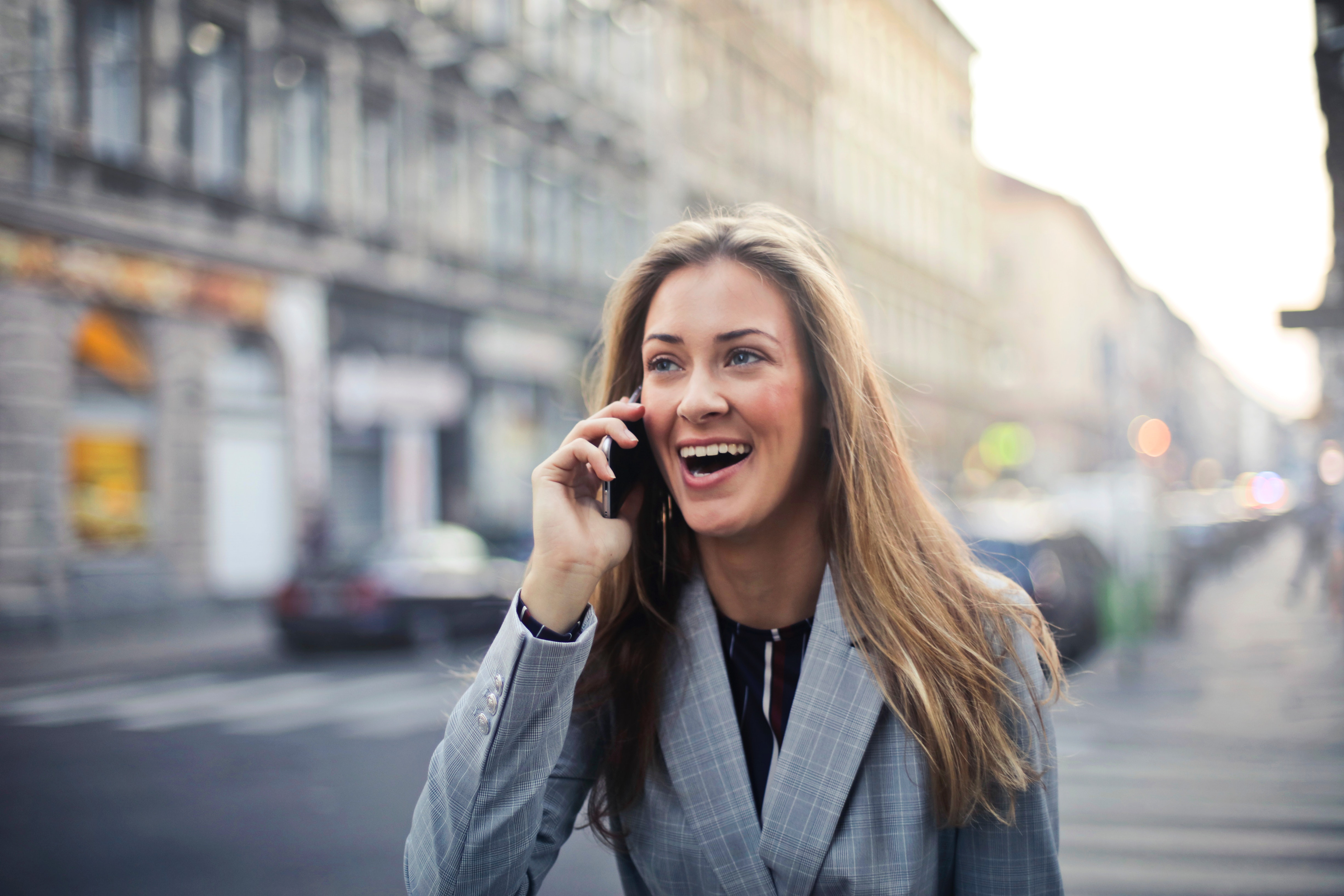 Blonde Hair Woman Wearing Gray Suit Jacket Holding Smartphone, Joy, Young, Woman, Urban, HQ Photo