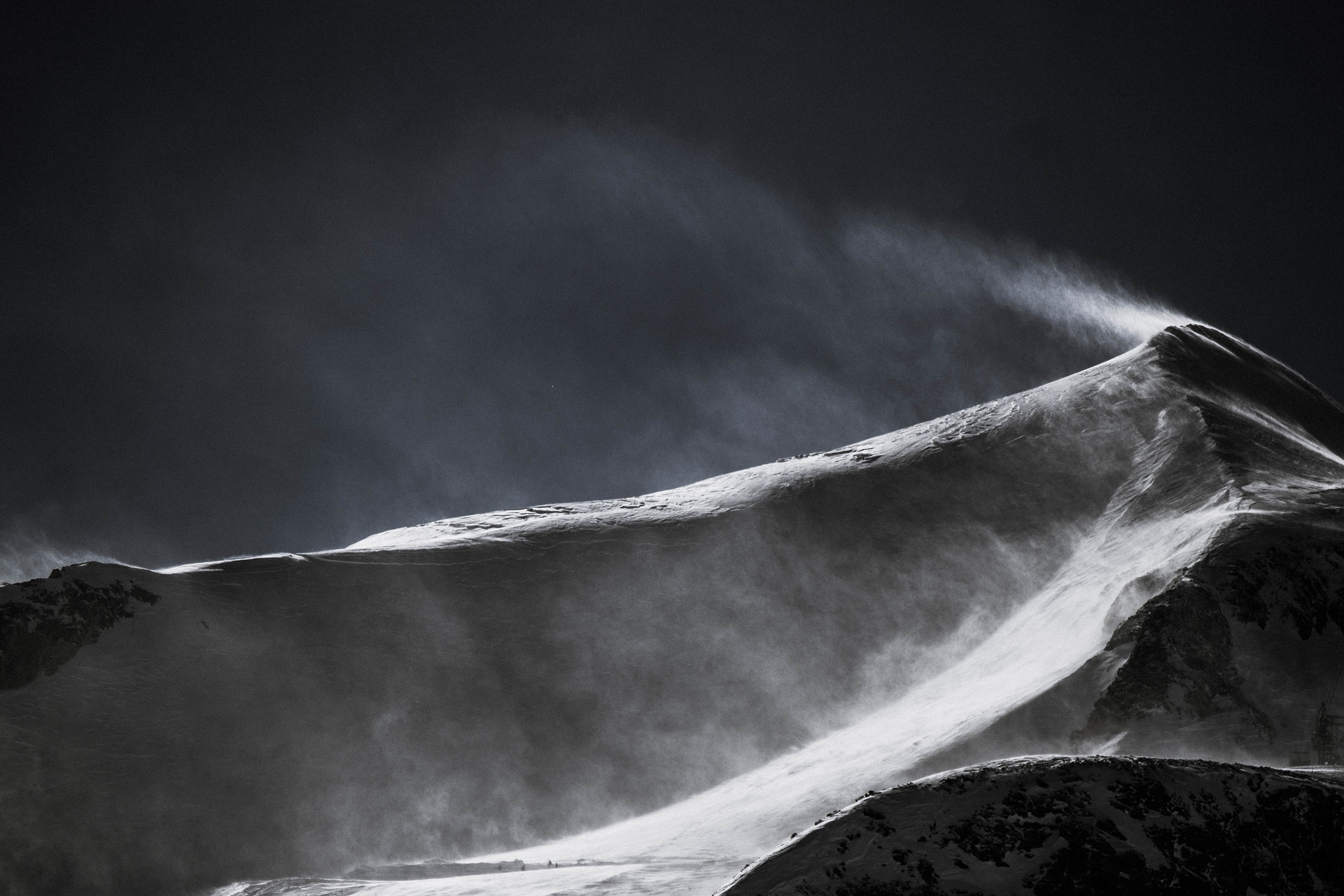 Blowing Over the Top, Blow, Ice, Landscape, Mountain, HQ Photo