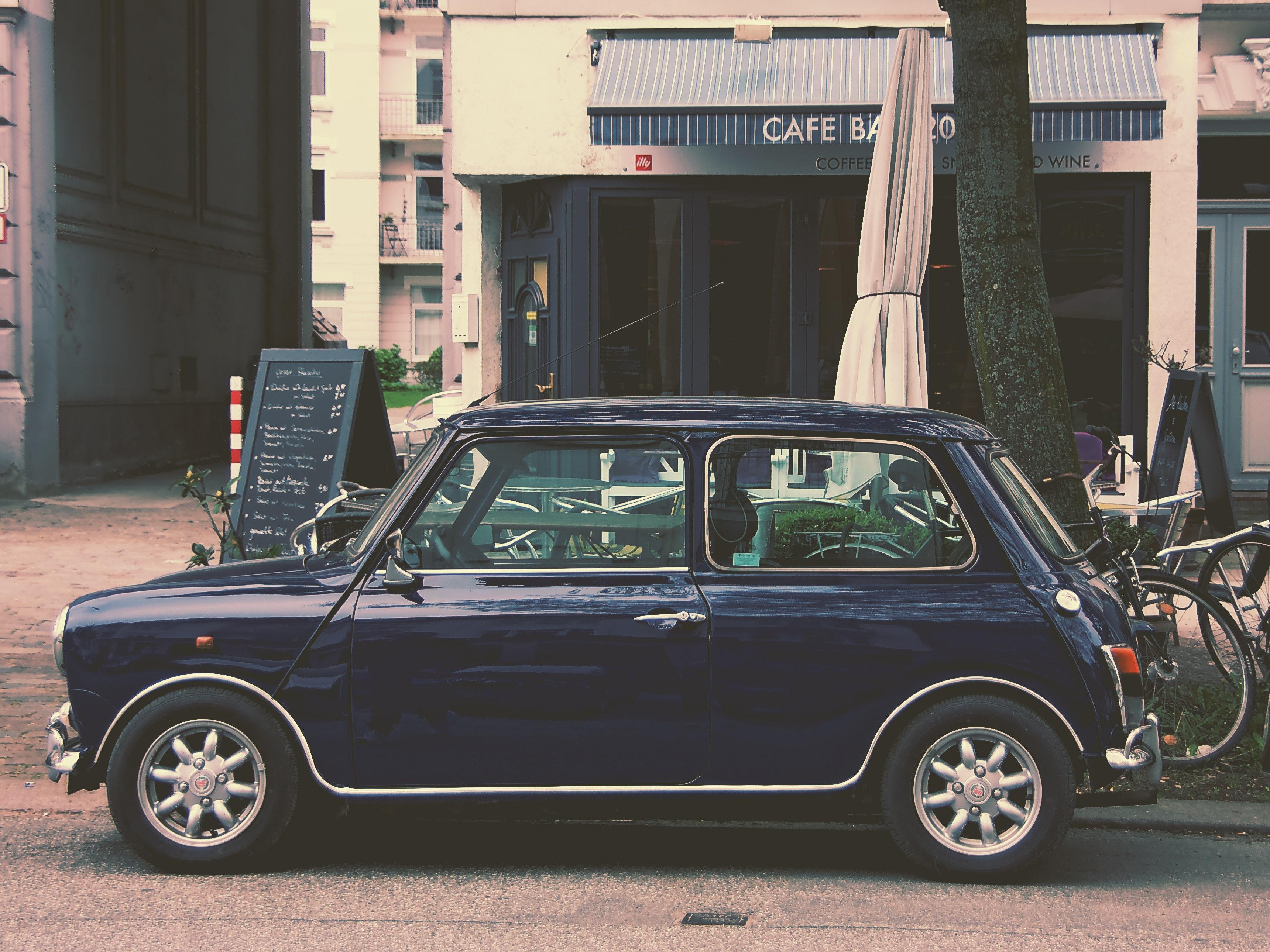 Blue 5 Door Hatchback, Automobile, Automotive, Cafe, Car, HQ Photo