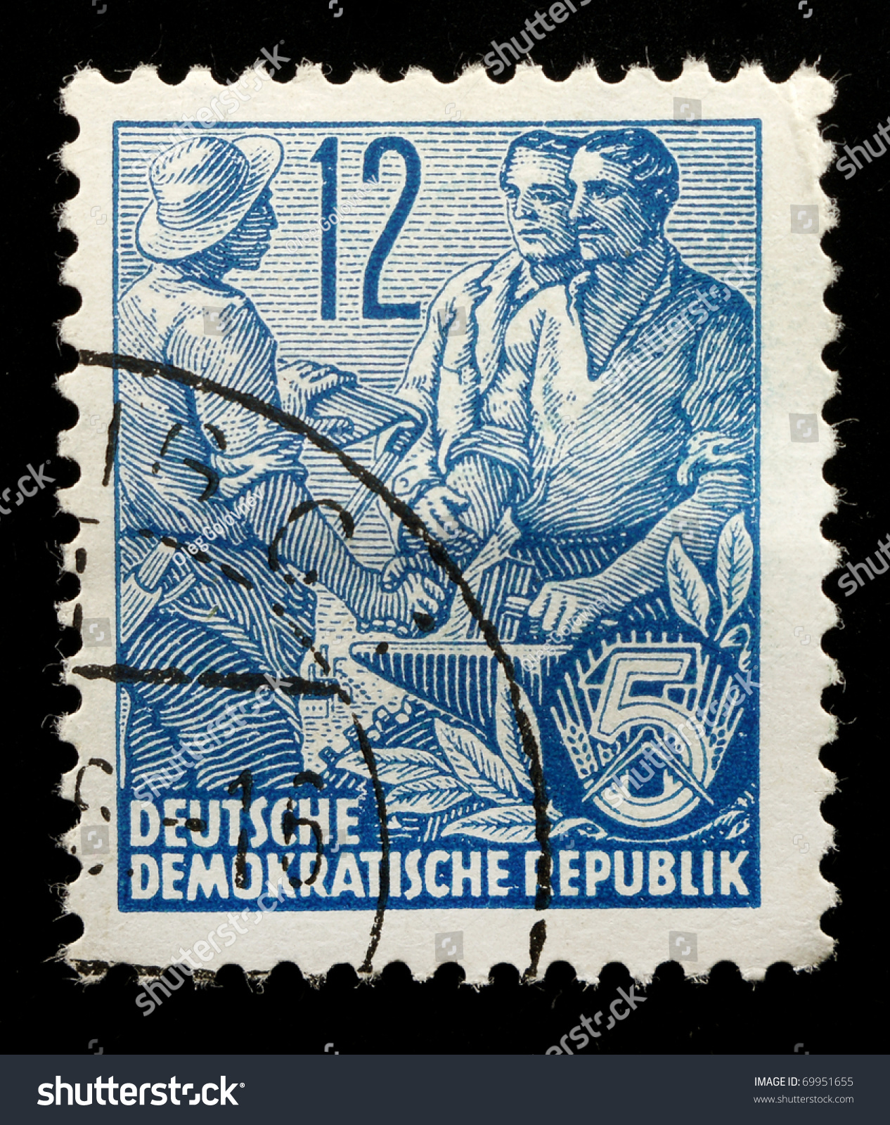 Blue agricultural stamp photo