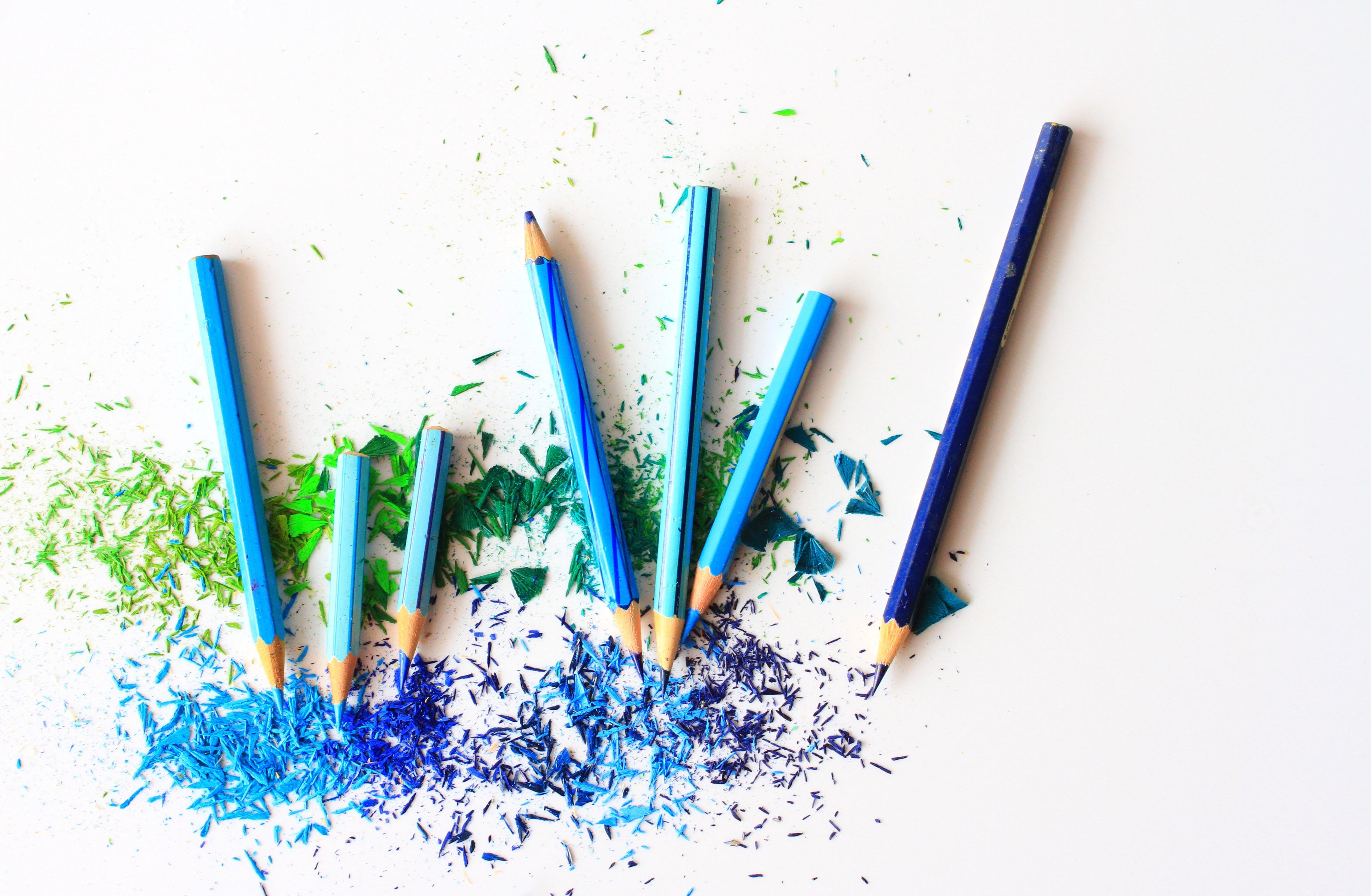 Blue and Purple Color Pencils, Art, Vibrant, Tool, Still life, HQ Photo