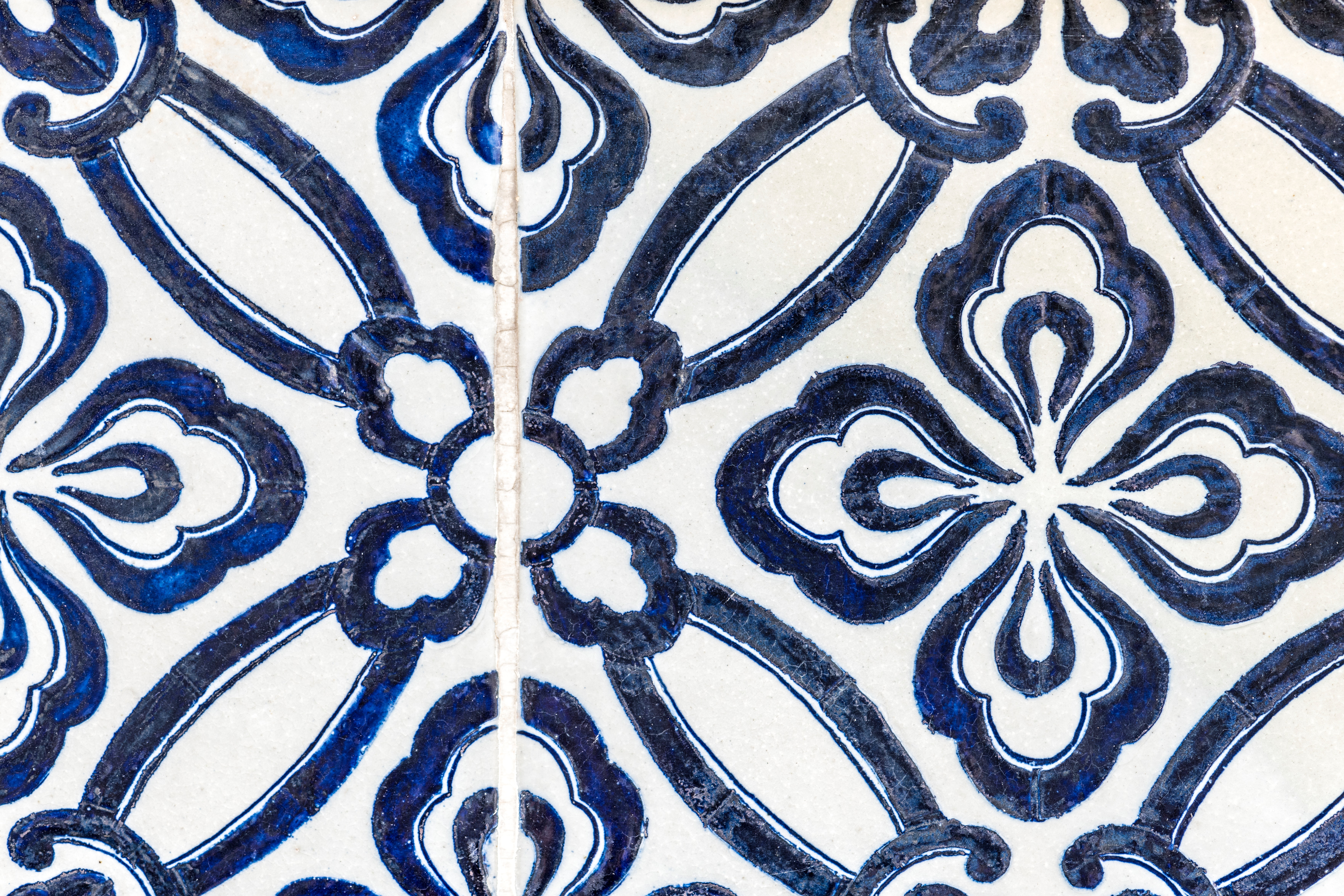 Blue and White Floral Wallpaper, Art, Painted, Tile, Texture, HQ Photo