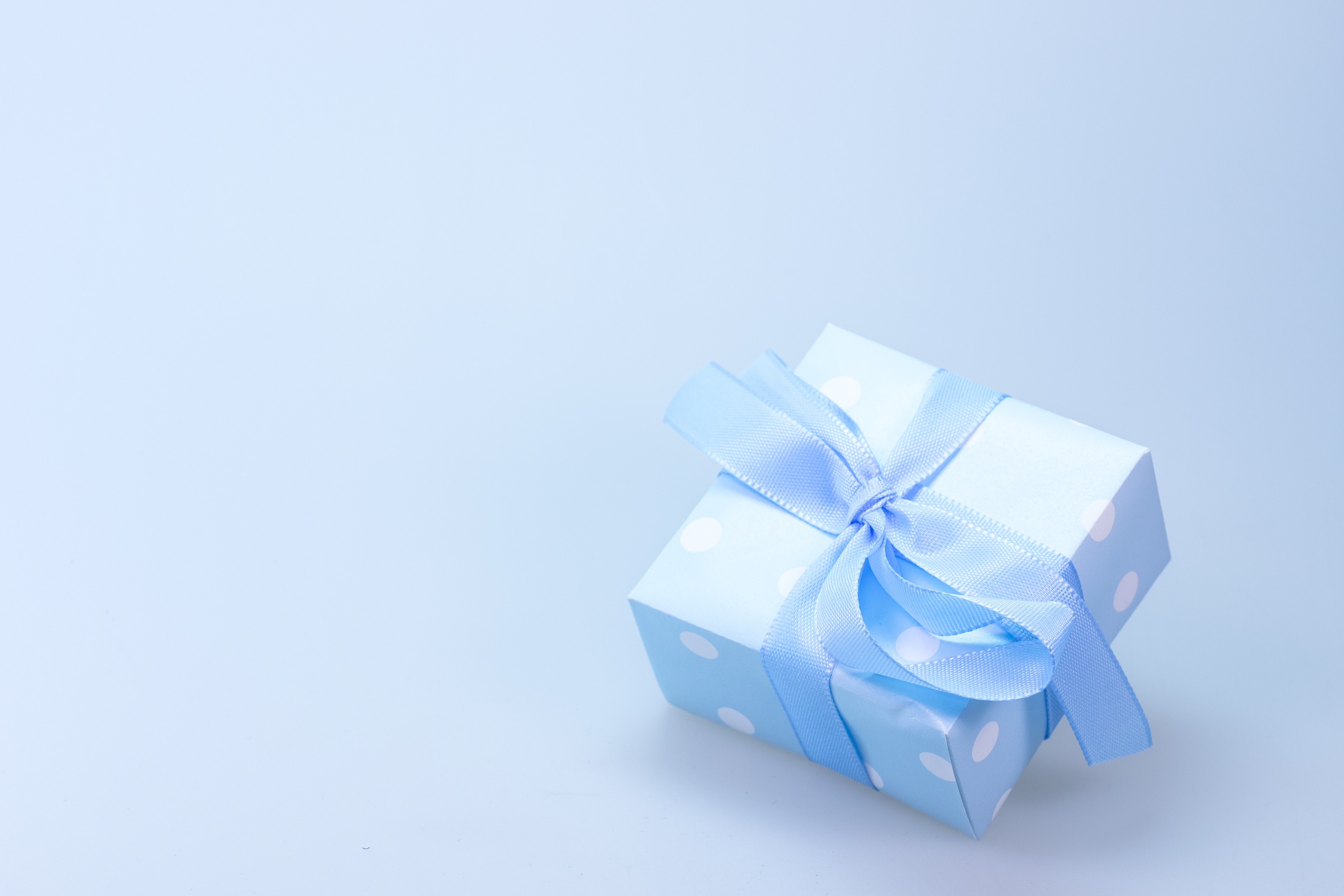 Blue and White Polka Dot Gift Box With Blue Ribbon, Ribbon, Present, Package, Blue, HQ Photo