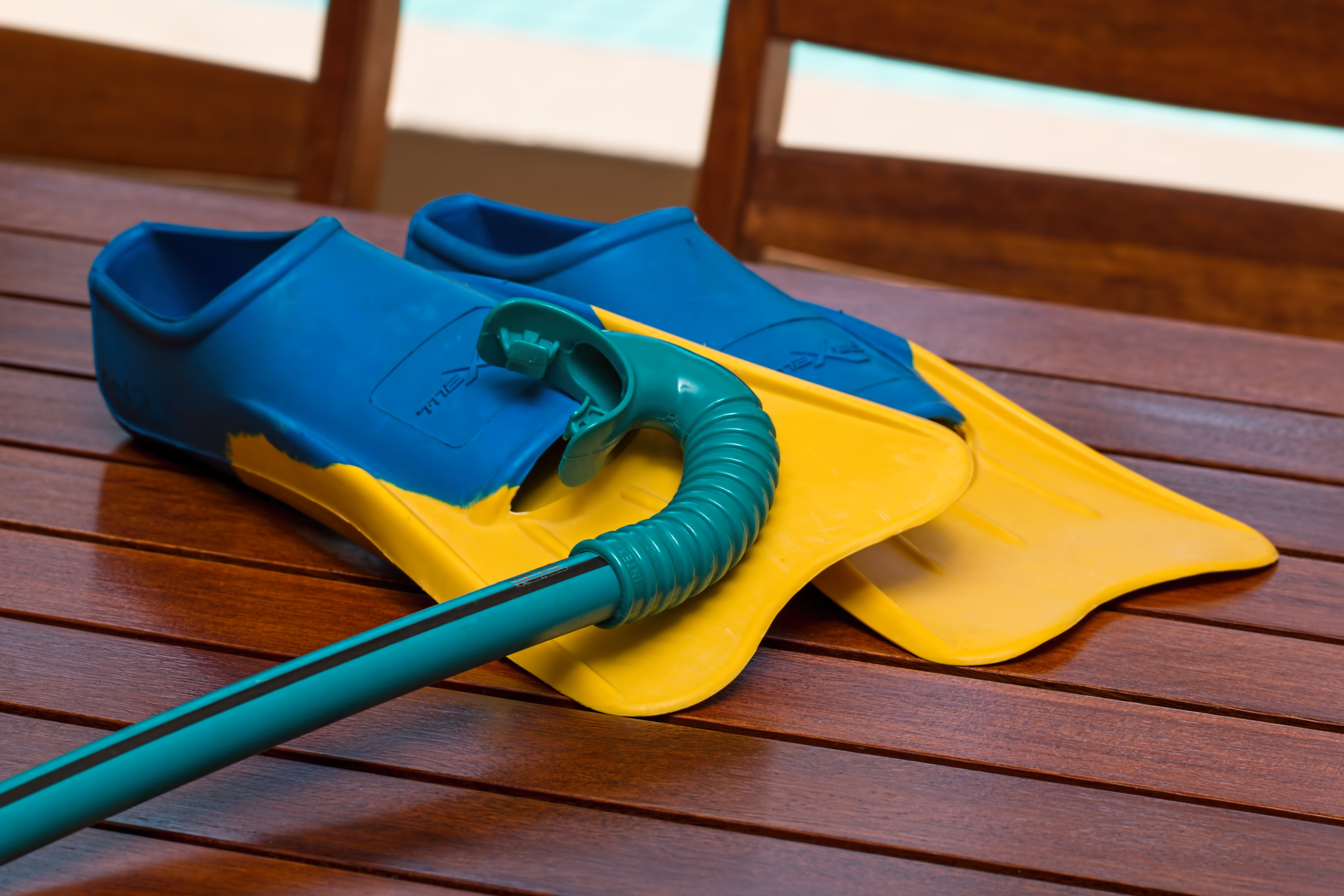 Blue and Yellow Flippers, Wood, Wooden, Snorkel, Plastic, HQ Photo