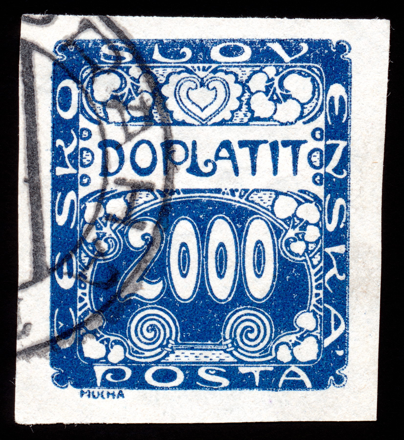 Blue art nouveau stamp photo