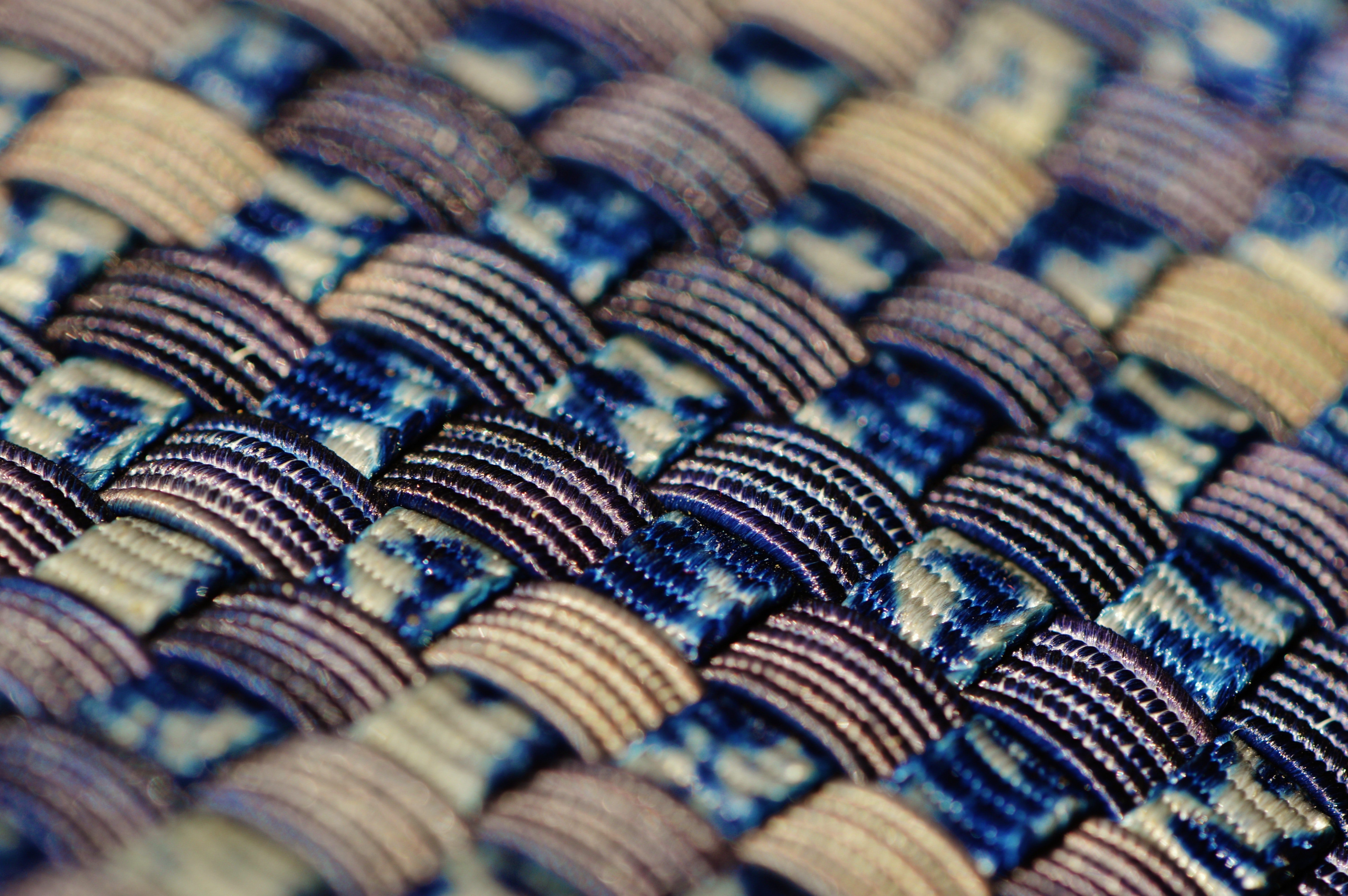 Blue black and gold woven textile photo