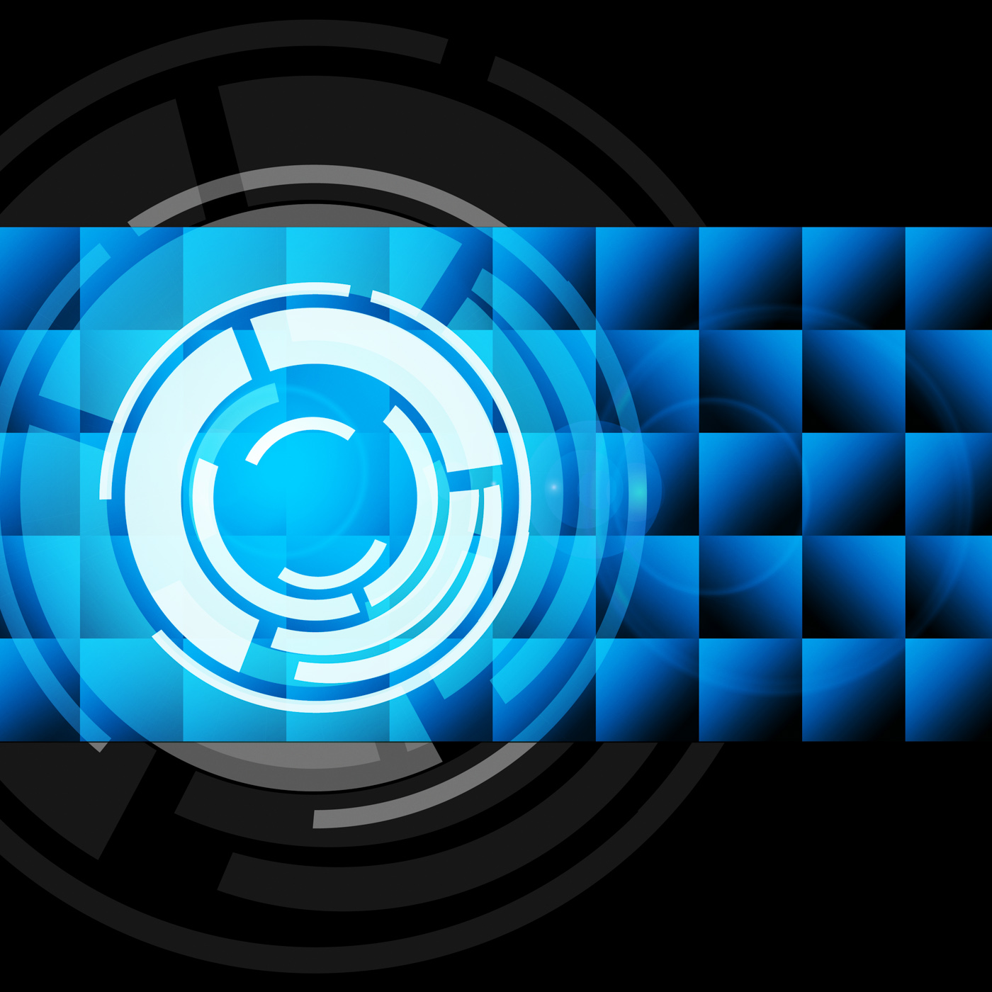 Blue circles background shows records and gramophone photo