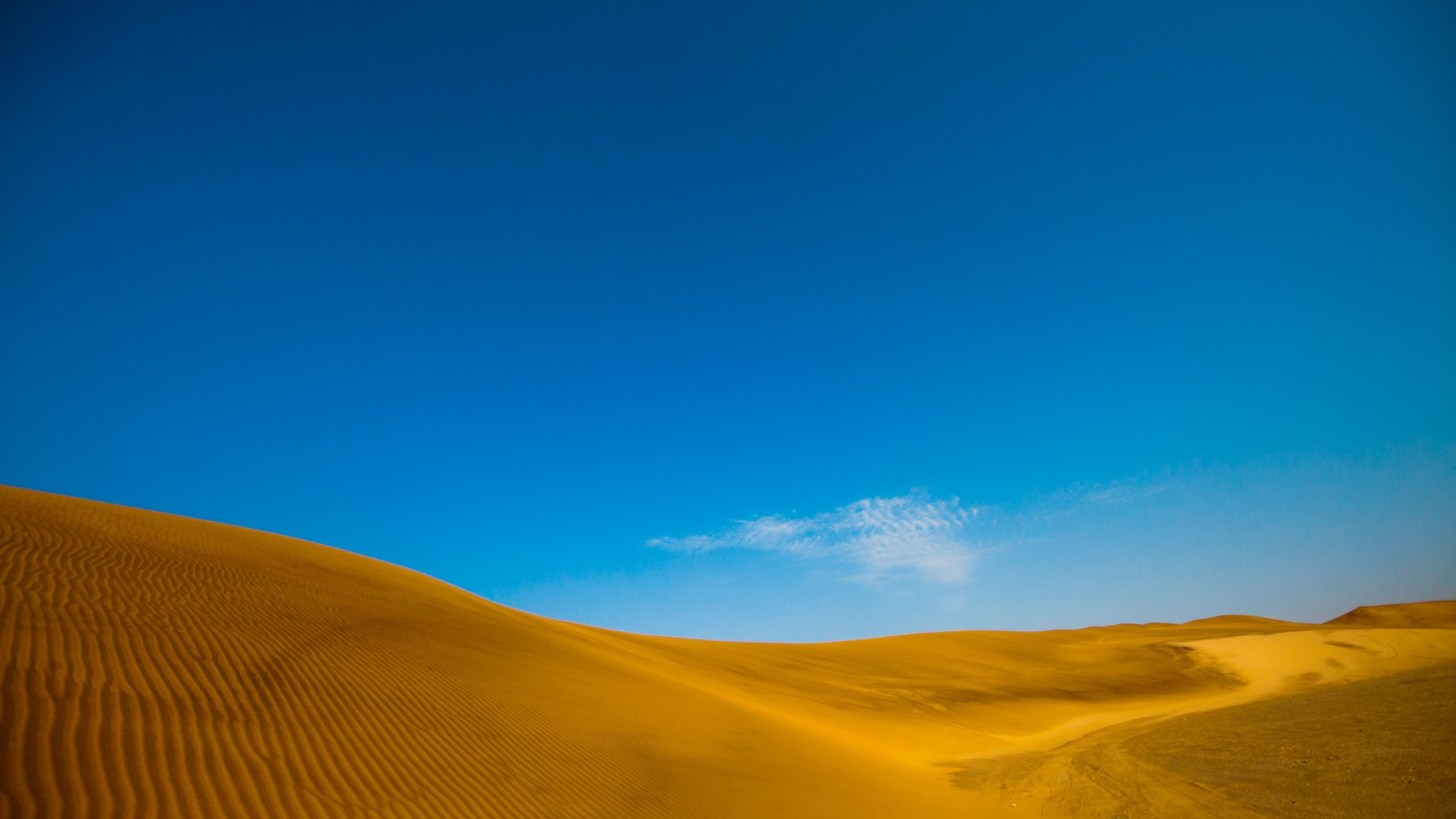 Blue sky over yellow sand desert wallpapers and images - wallpapers ...