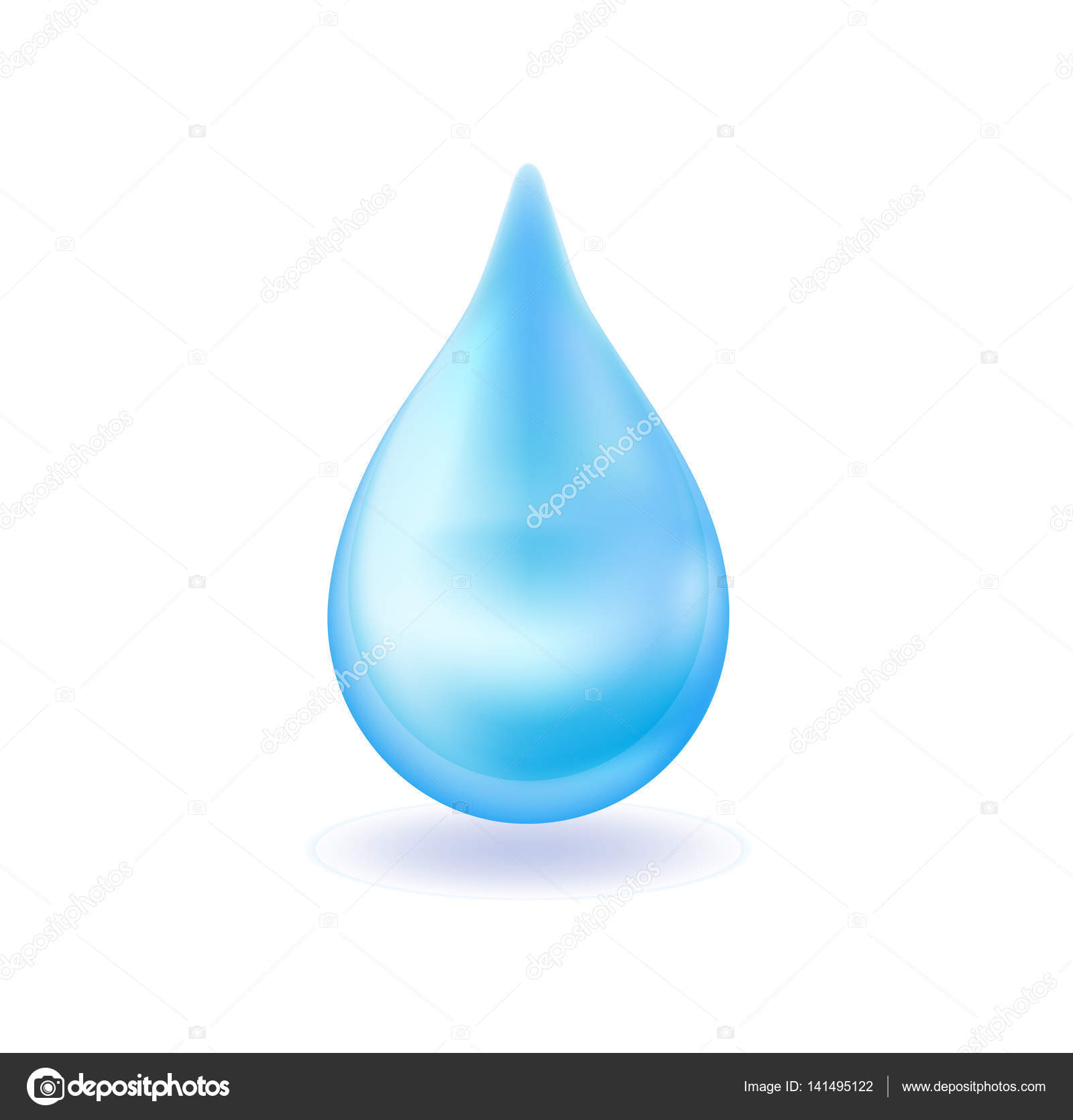 Realistic blue water drop. 3d icon droplet falls. Vector ...