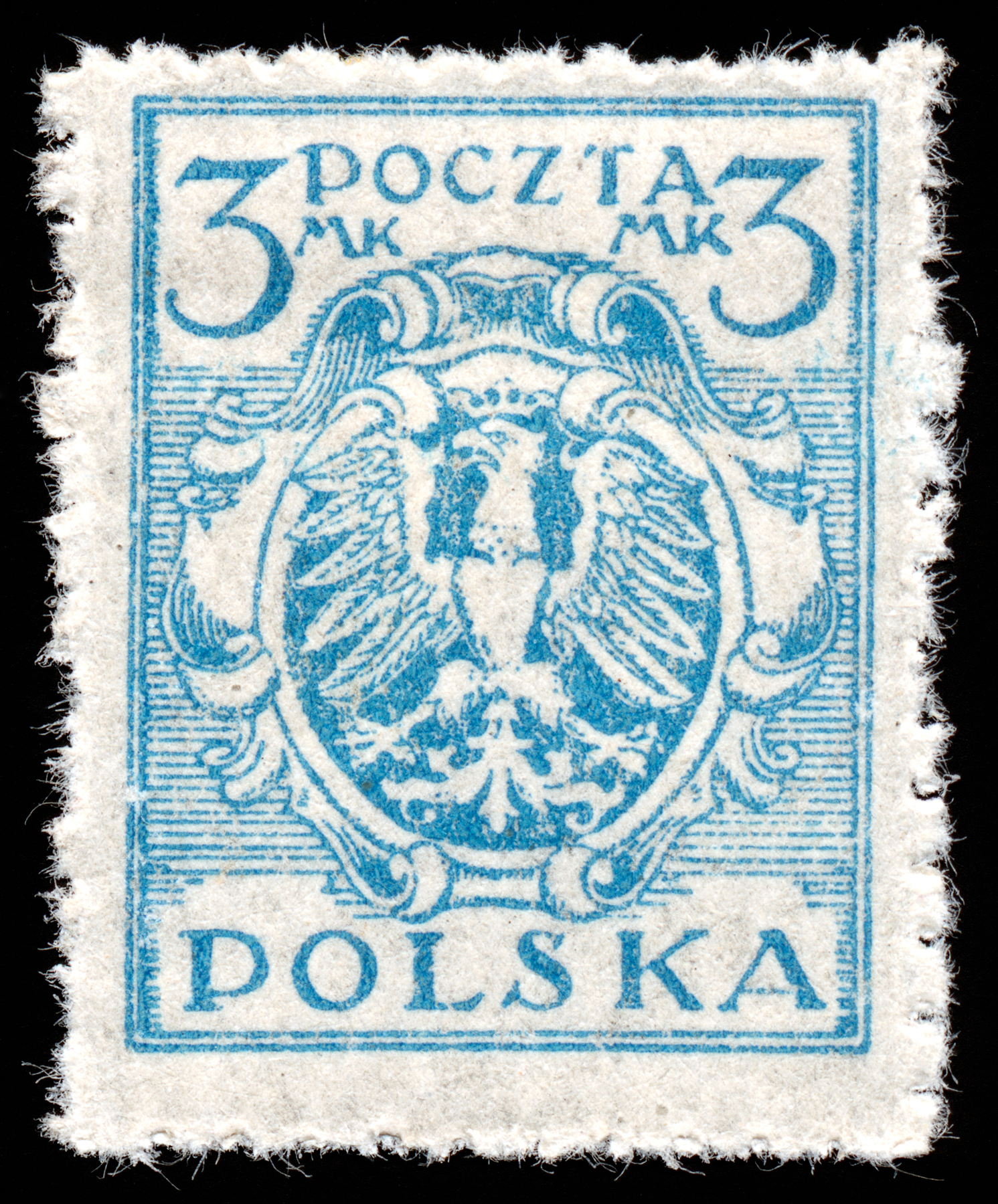 Blue Eagle Crest Stamp, 3, Polska, Rectangle, Postmark, HQ Photo