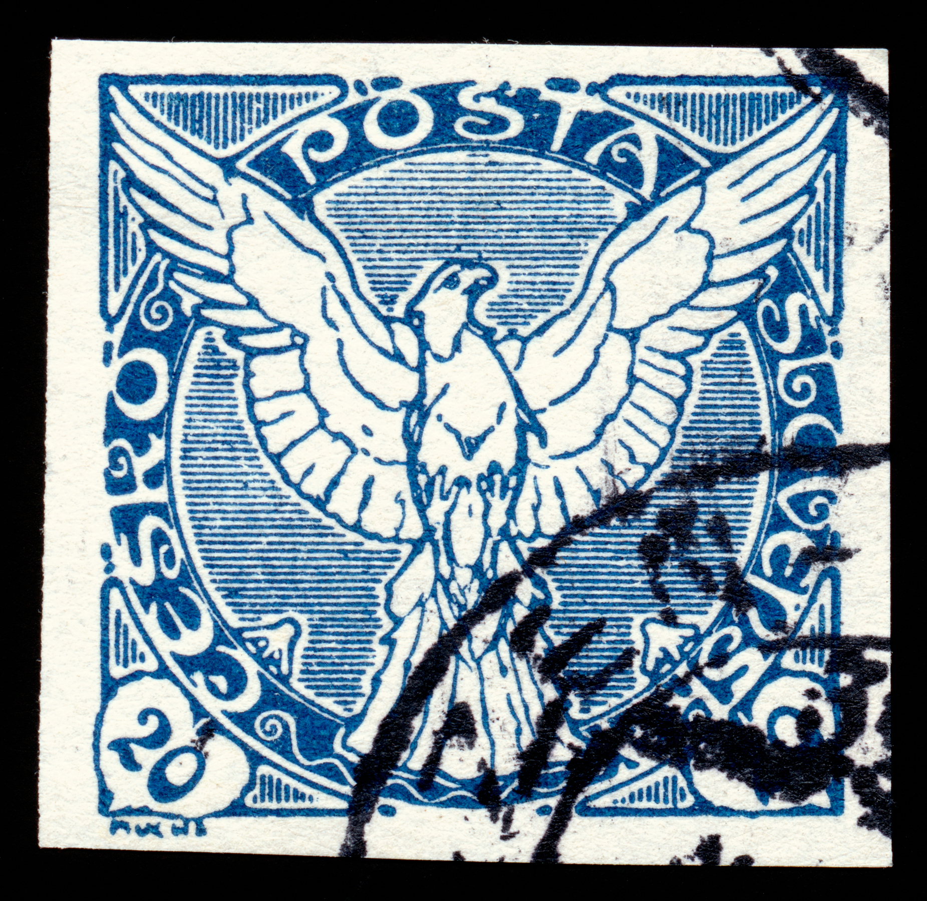 Blue Falcon Stamp, Rectangle, Scan, Retro, Resource, HQ Photo
