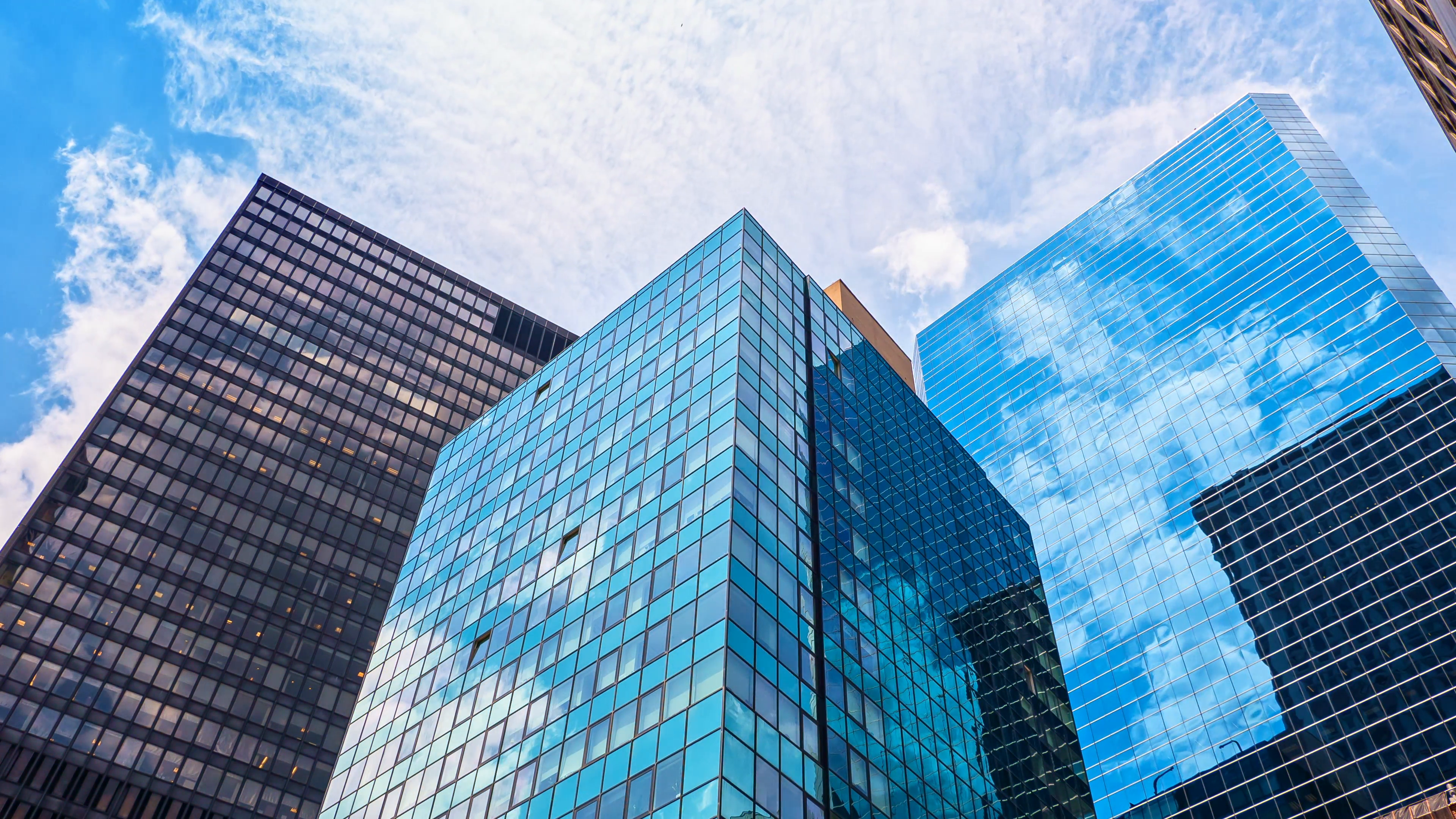 Glass skyscrapers blue sky reflection mirror facades corporate ...