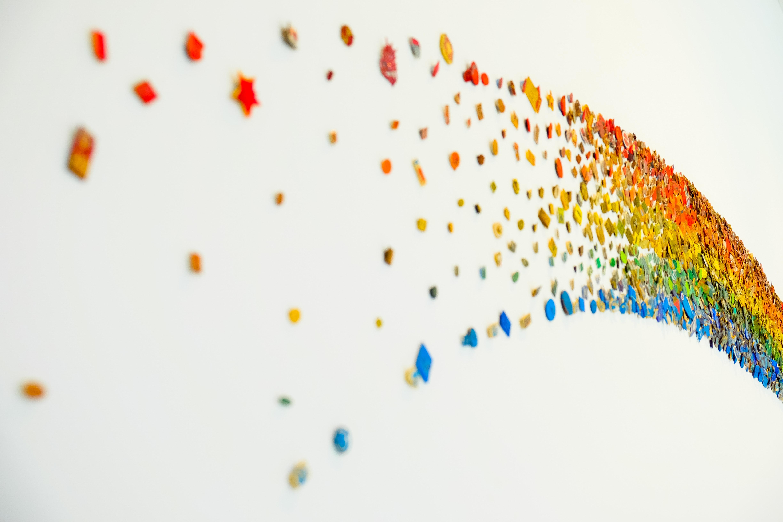 Blue, green, orange and red rainbow design decoration photo
