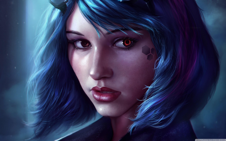 Fantasy Girl Face Blue Hair ❤ 4K HD Desktop Wallpaper for 4K Ultra ...