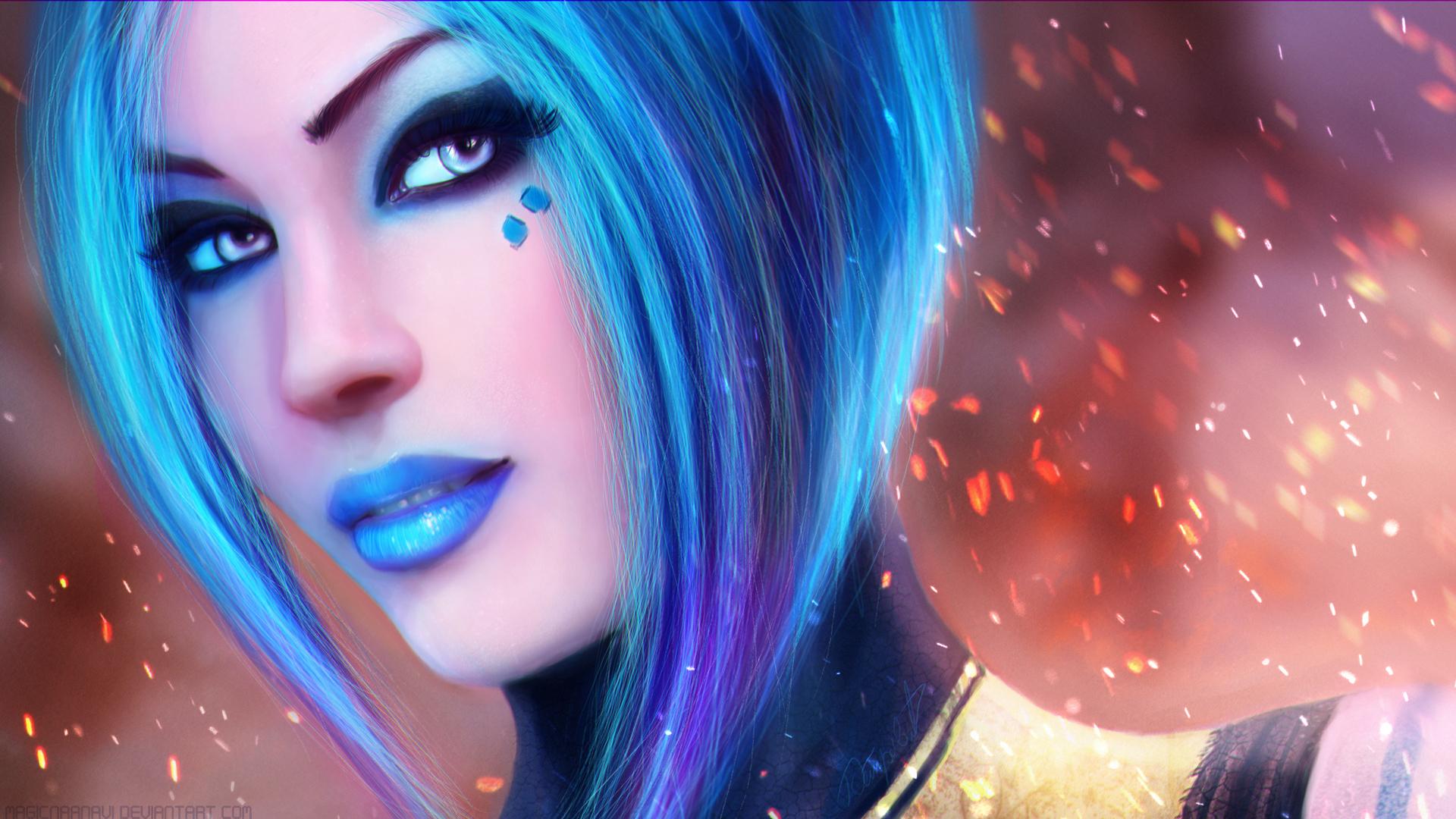 Blue Hair Space Girl HD Wallpaper | 1920x1080 | ID:48858 ...
