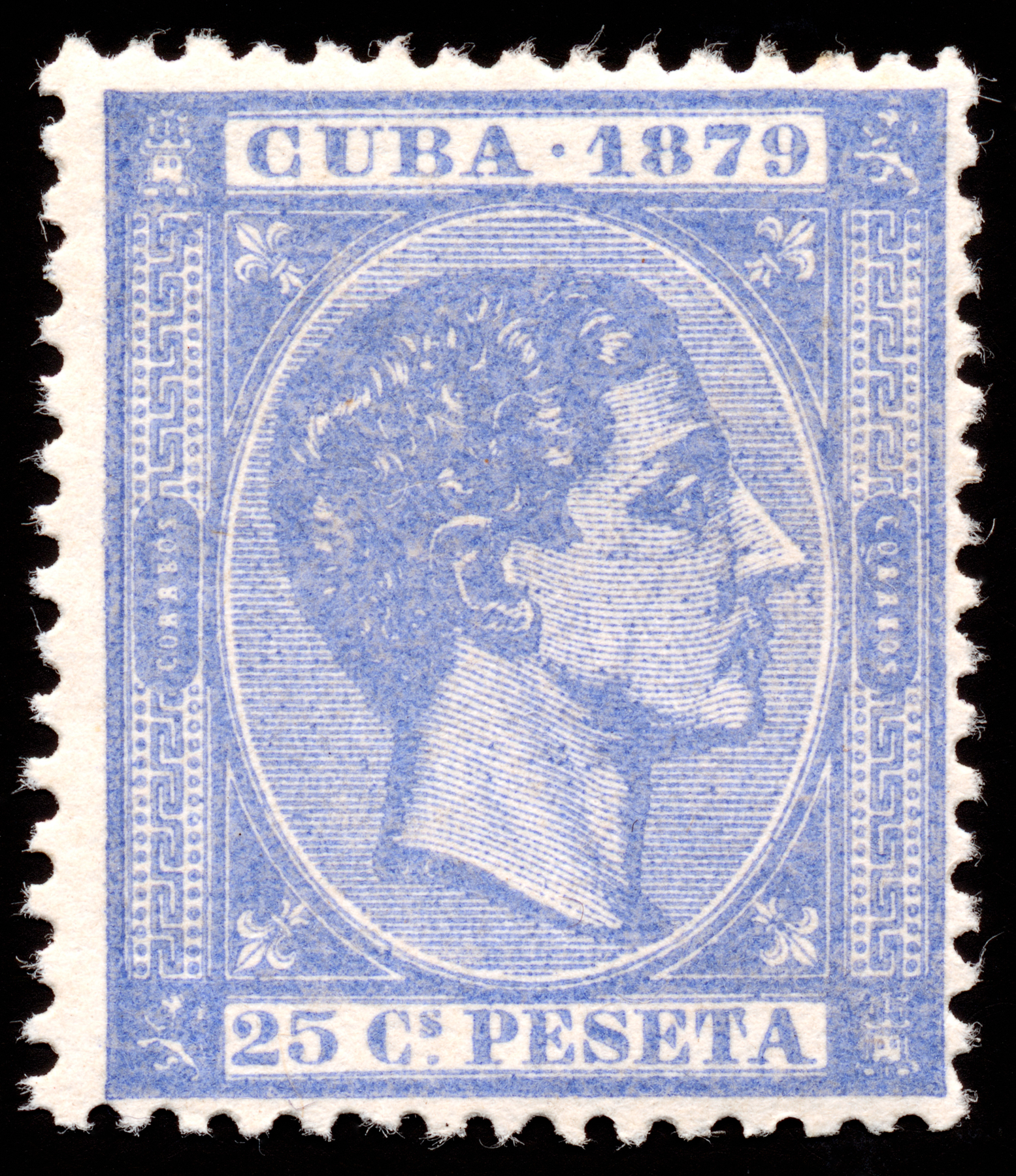 Blue King Alfonso XII Stamp, Rectangular, Rectangle, Regal, Res, HQ Photo