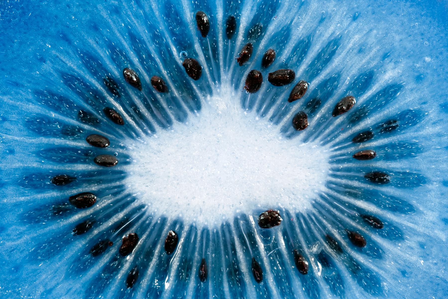 Blue kiwi slice macro photo